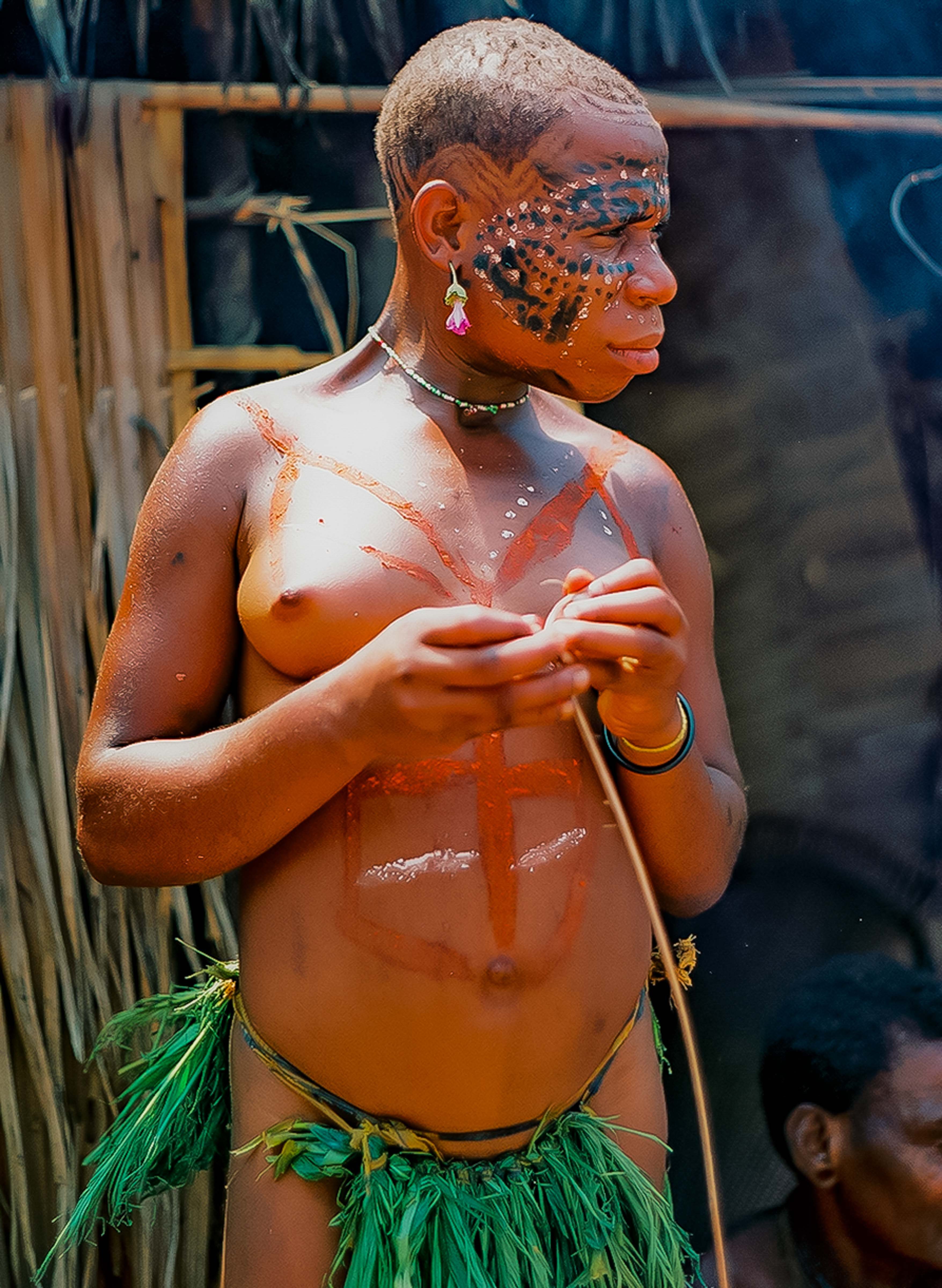 Central African Republic, Pygmy Woman With Designs On Body, 2000
