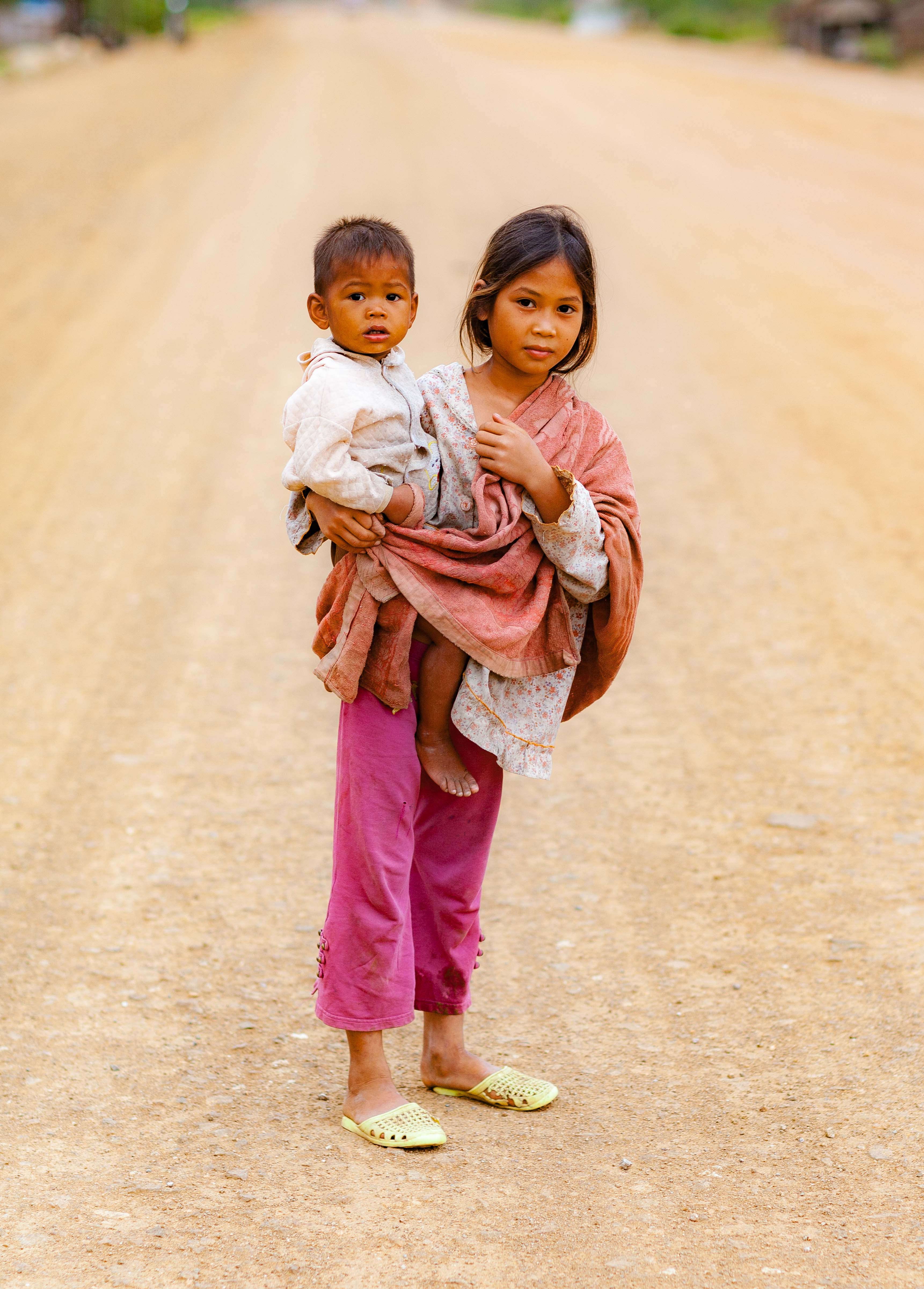 Cambodia, Krong Pailin Prov, Girl And Brother, 2009, IMG 9854