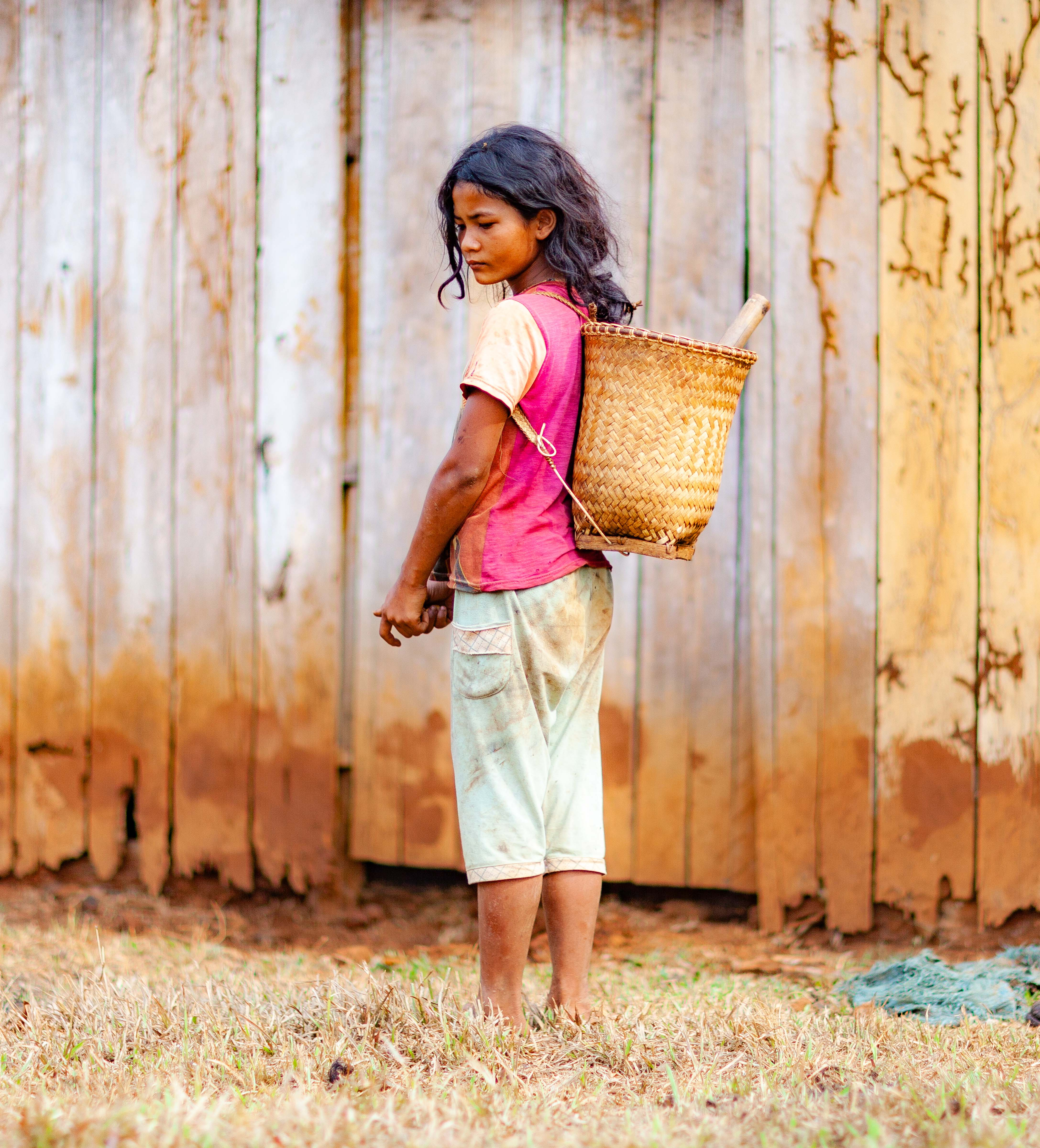 Cambodia, Mondol Kiri Prov, Girl With Basket, 2011, IMG 0791