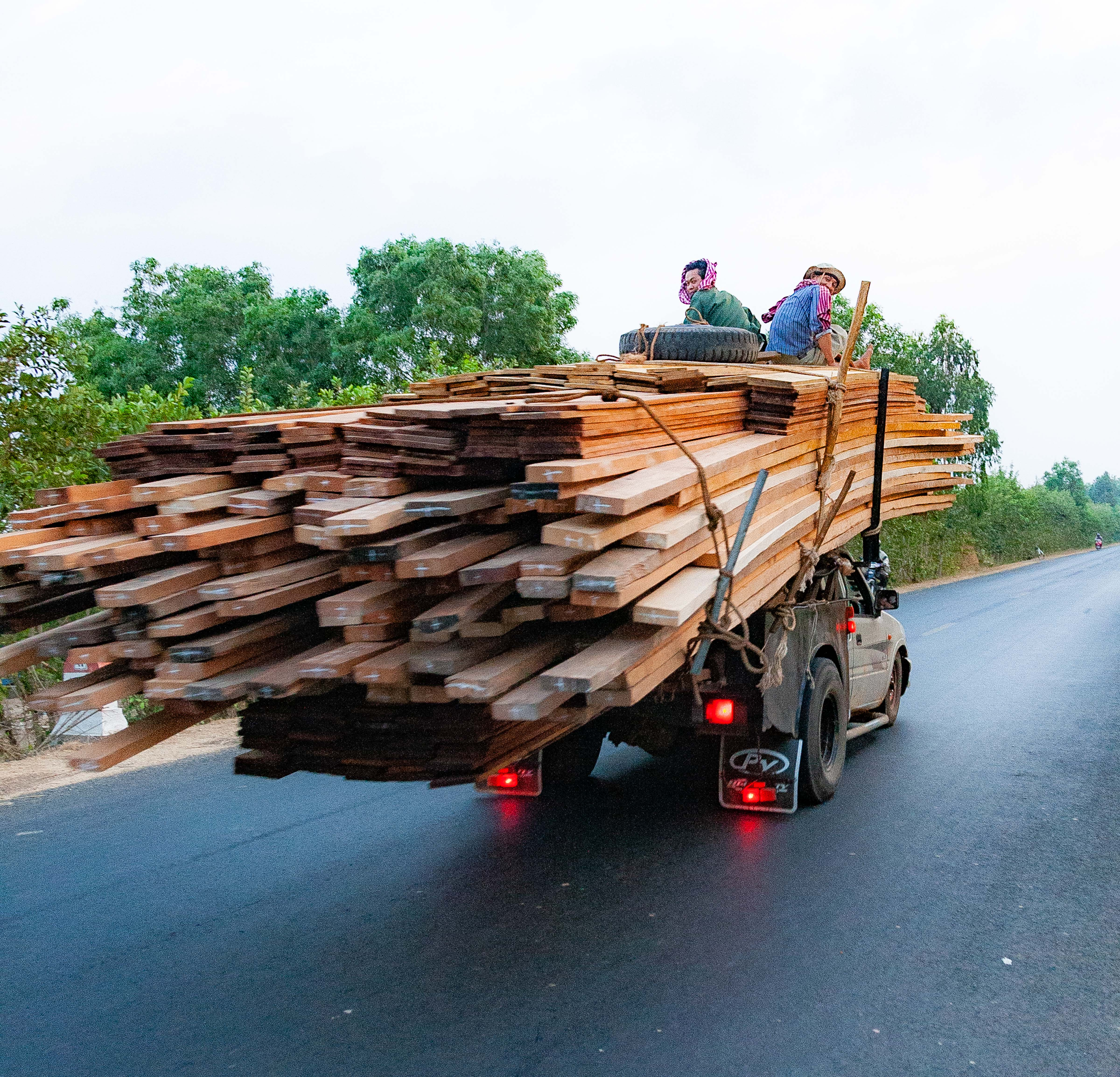 Cambodia, Prey Veaeng Prov, Wood Truck, 2010, IMG 5322