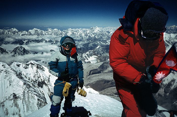 China, Xizang (Tibet) Prov, Tsering Dorje And Lhakpa Gelu On Everest Summit, 1995, 35mmSlide