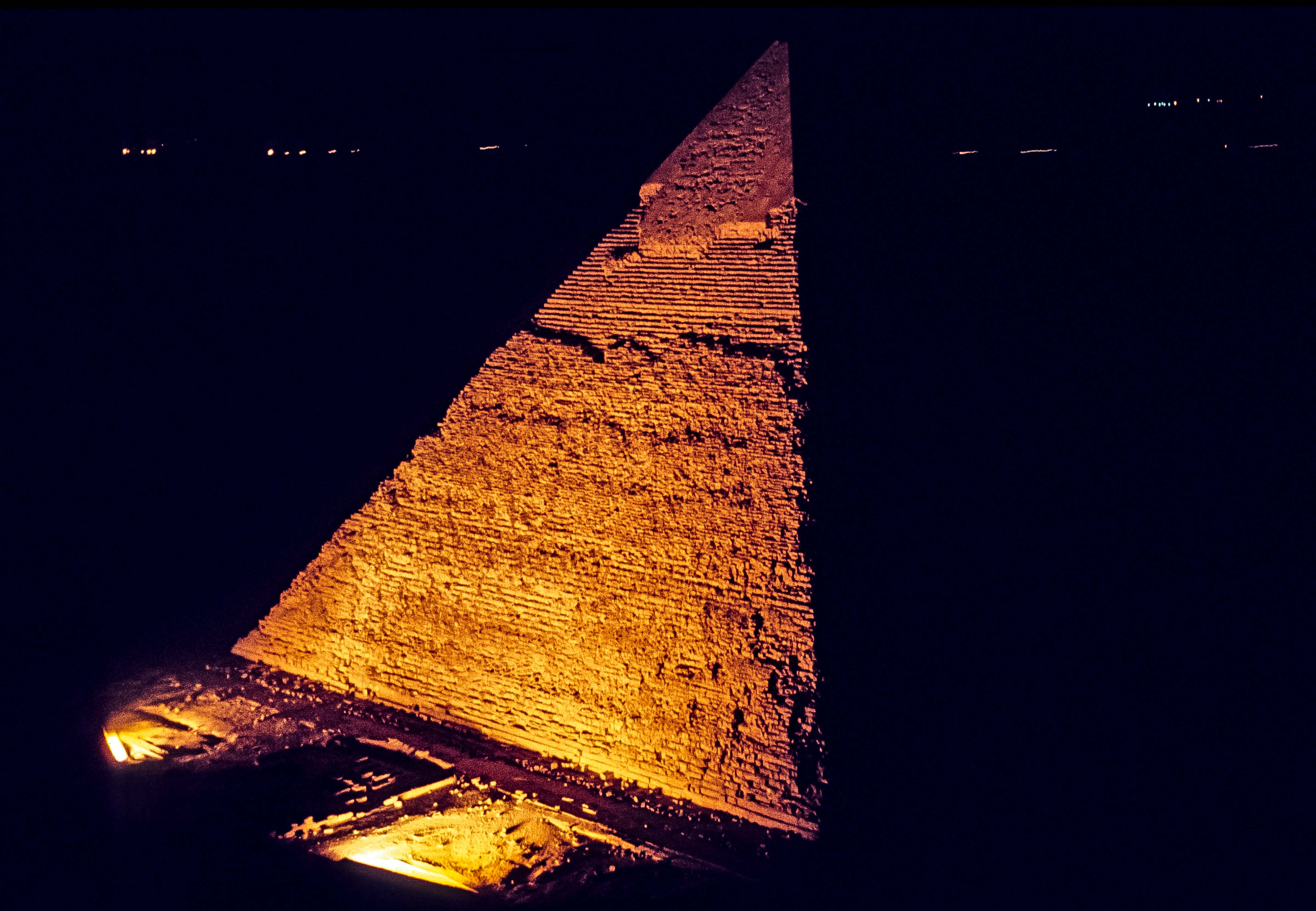 Egypt, Lights on the Pyramid of Chefren, 1984