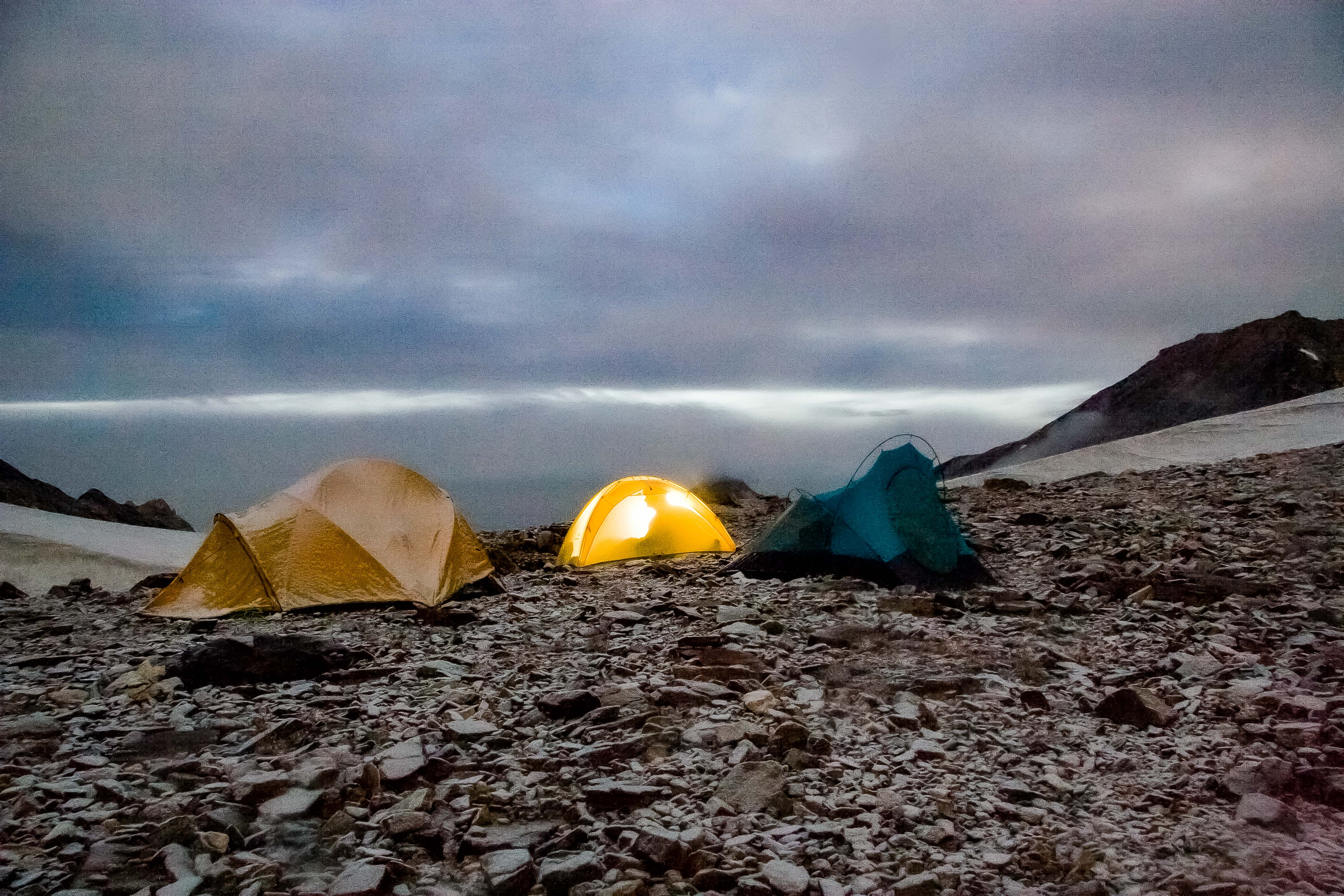 Greenland, Warming Island, off coast of Liverpool Land, Camp At Dusk, 2006