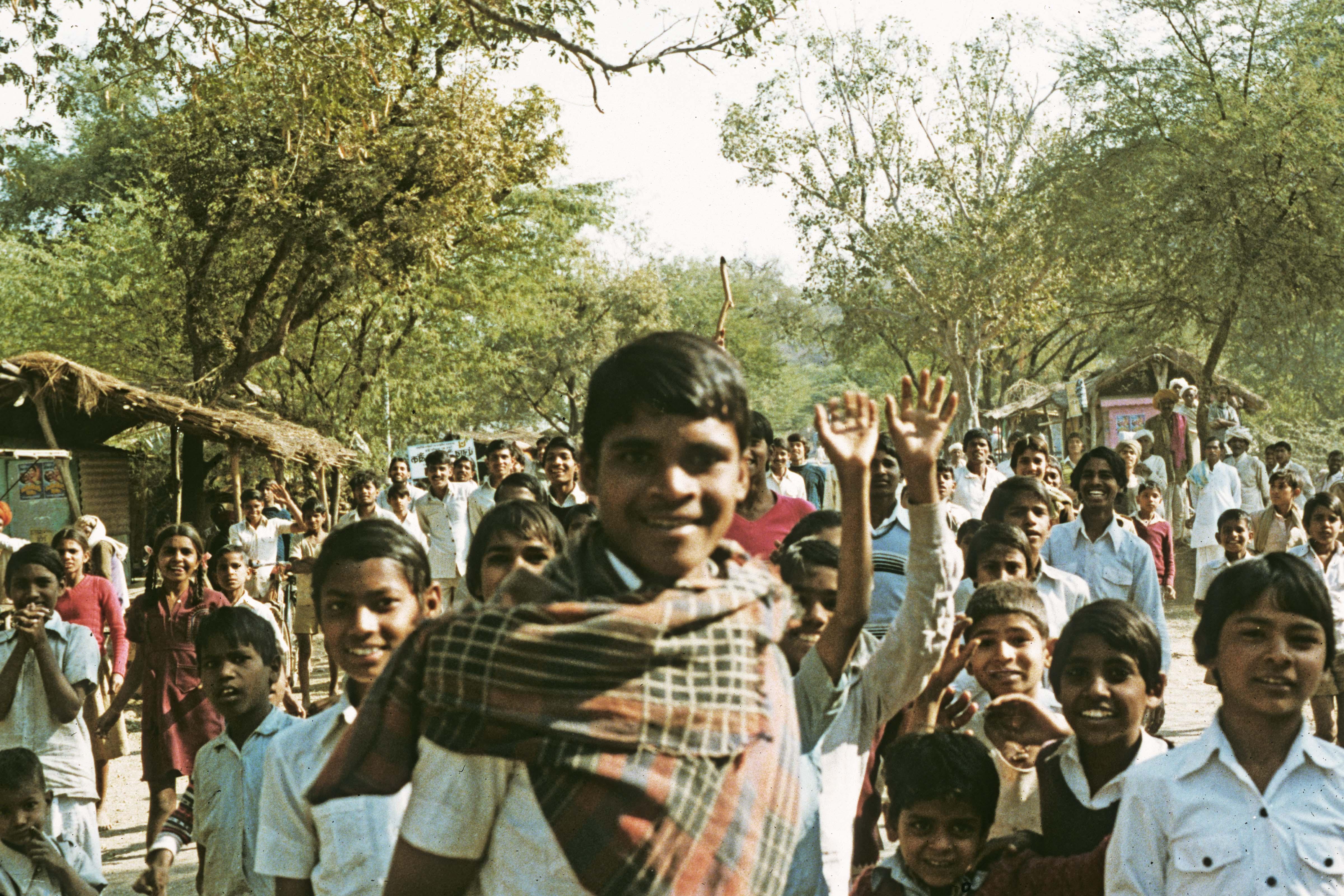 India, Rajasthan, Throng of Kids, 1984