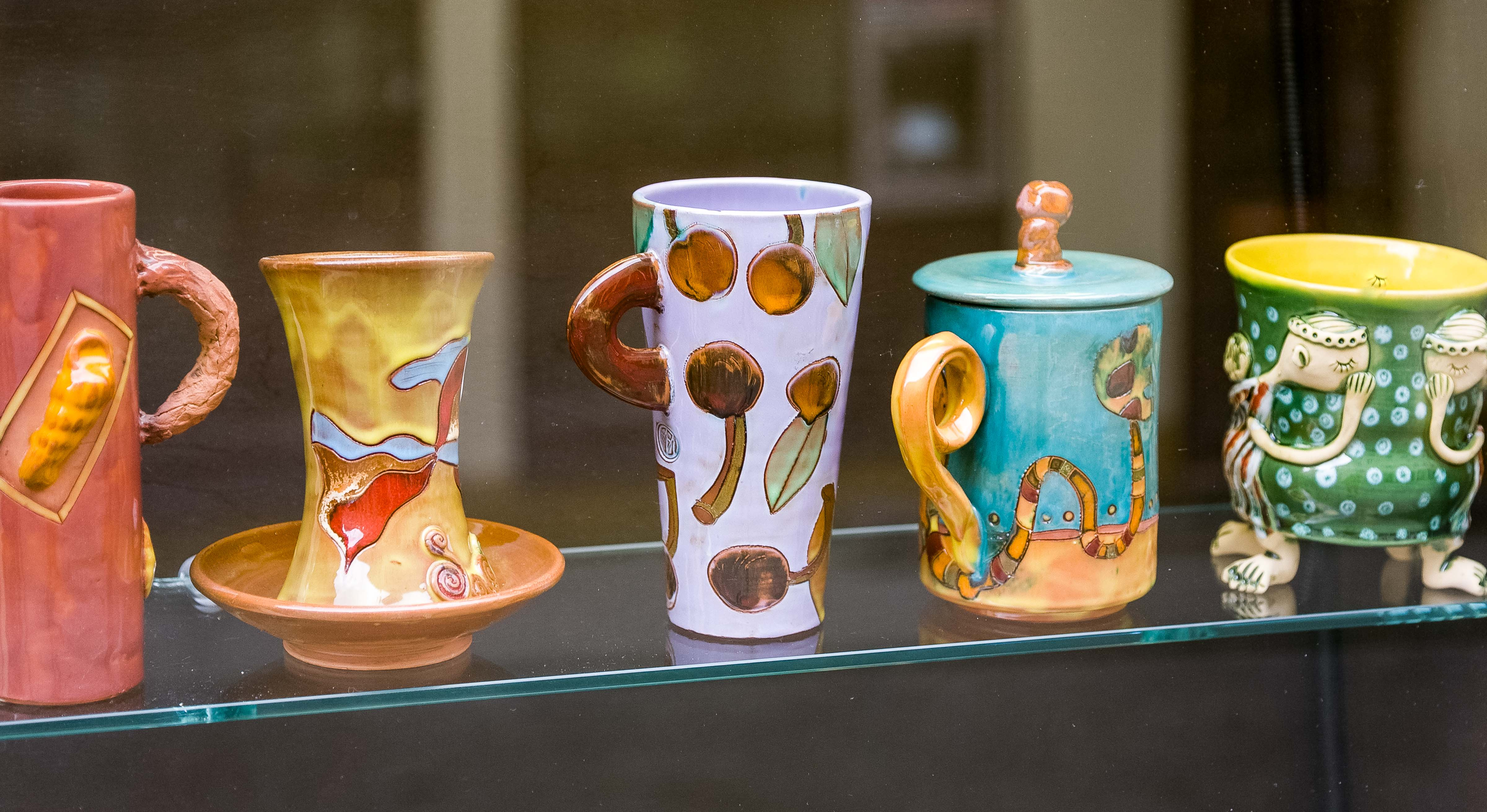 Lithuania, Vilnius, Five Cups In Window, 2010, IMG_3101