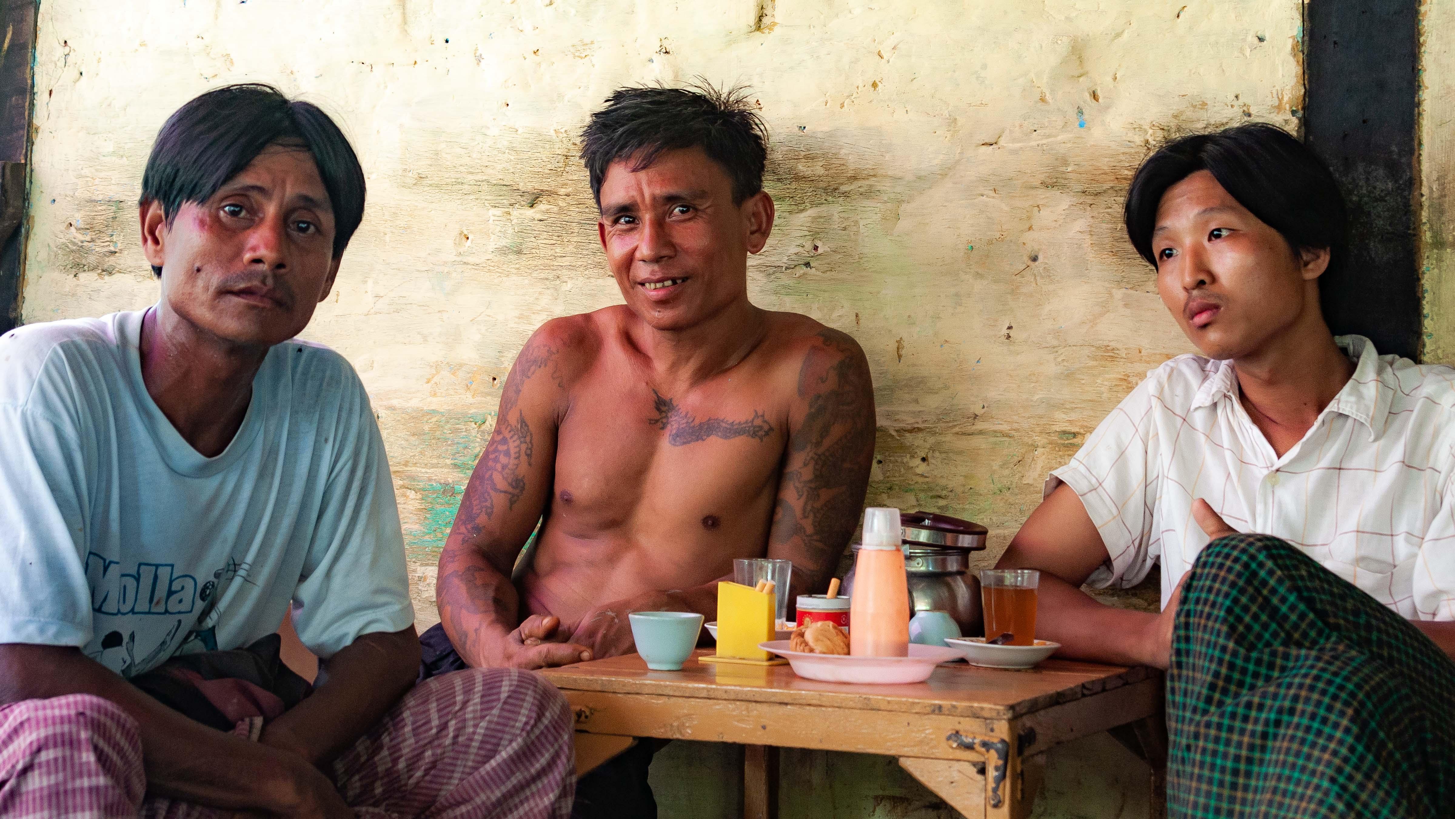 Myanmar, Ayeyarwady Prov, Coffee Shop Trio, 2009, IMG 0315