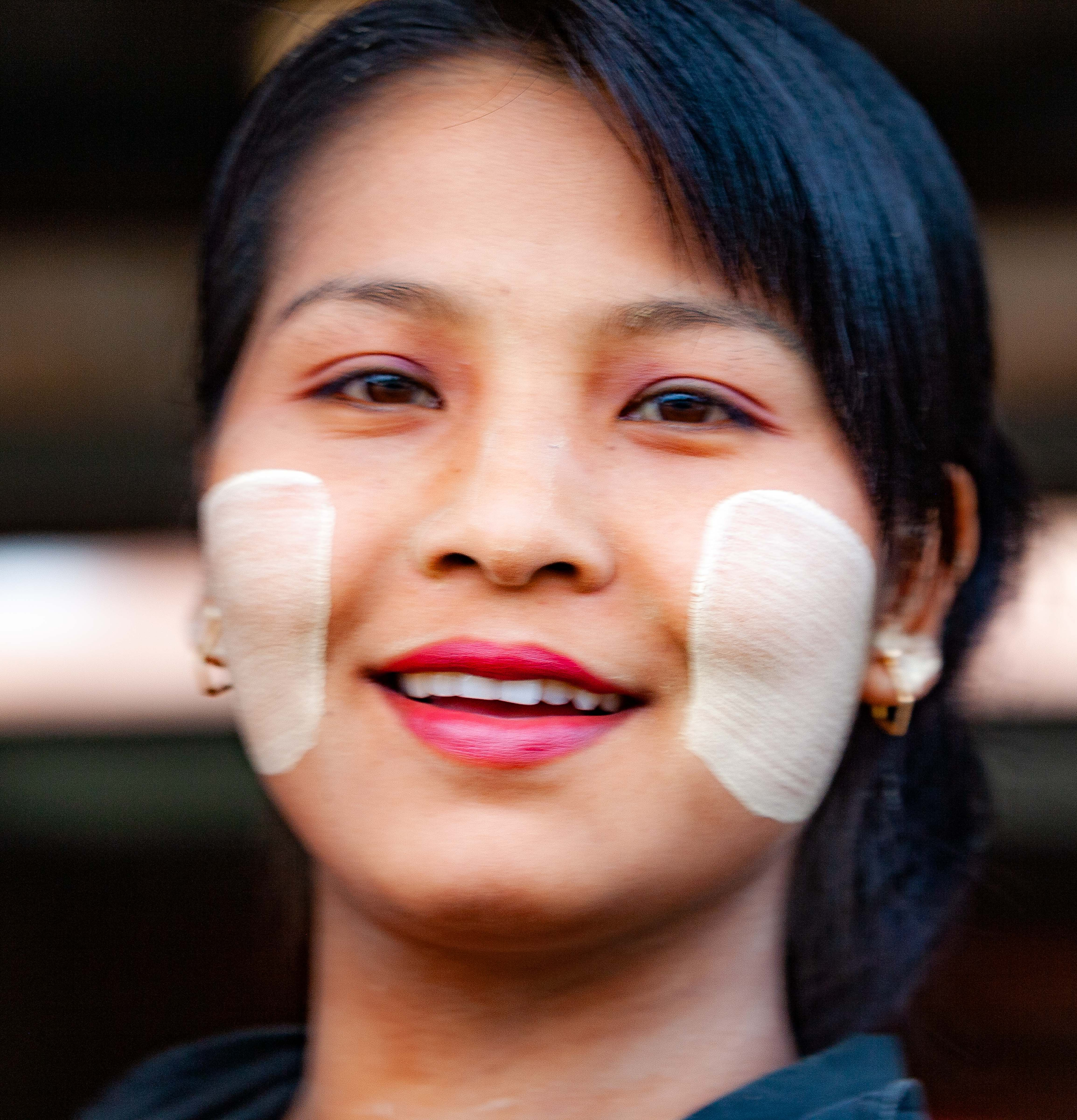 Myanmar, Shan Prov, Girl Painted Face, 2009, IMG 4188
