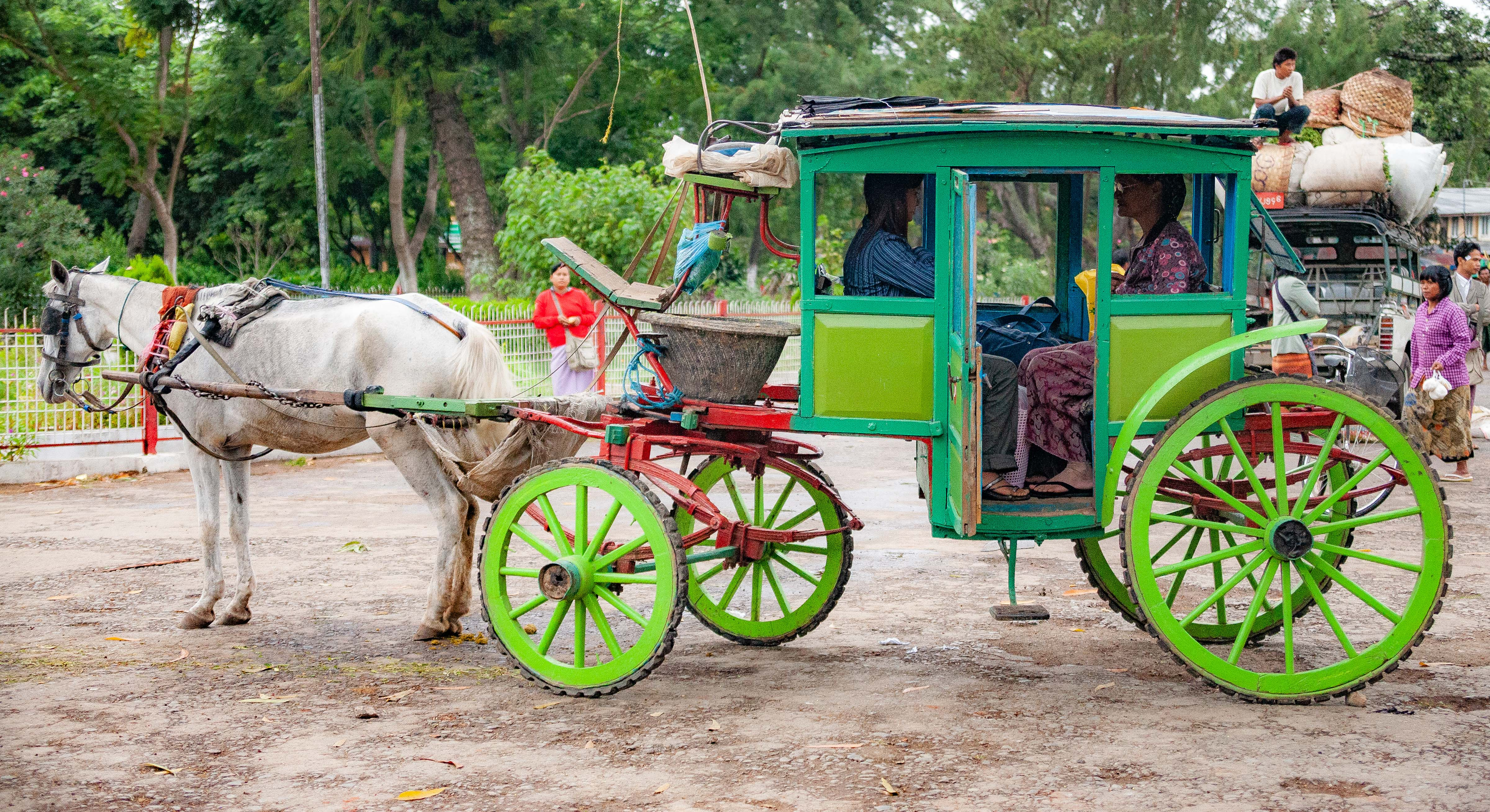 Myanmar, Shan Prov, Green Horse Carriage, 2009, IMG 4717