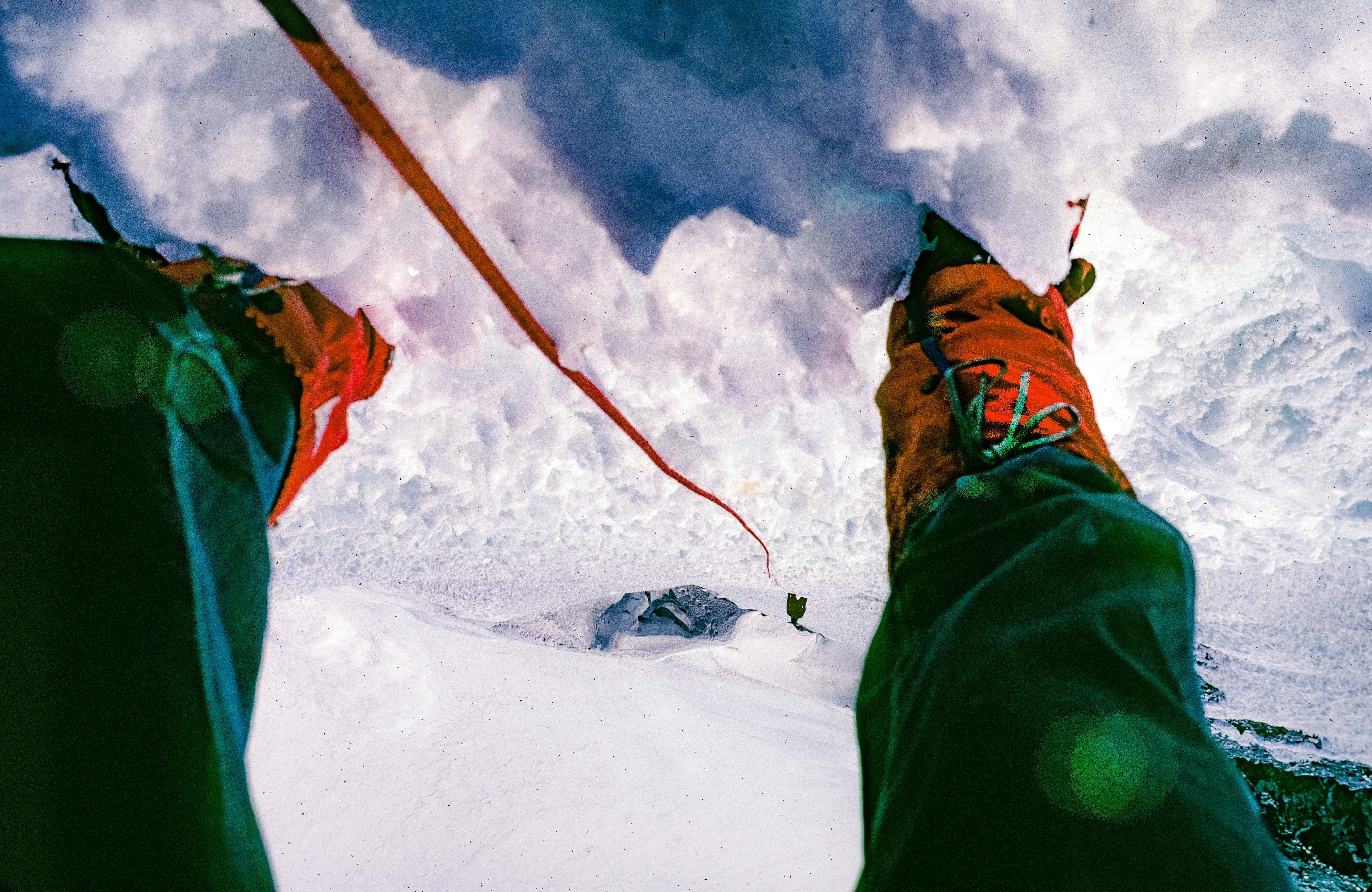 Nepal, Looking Through My Legs on Island Peak, 1983