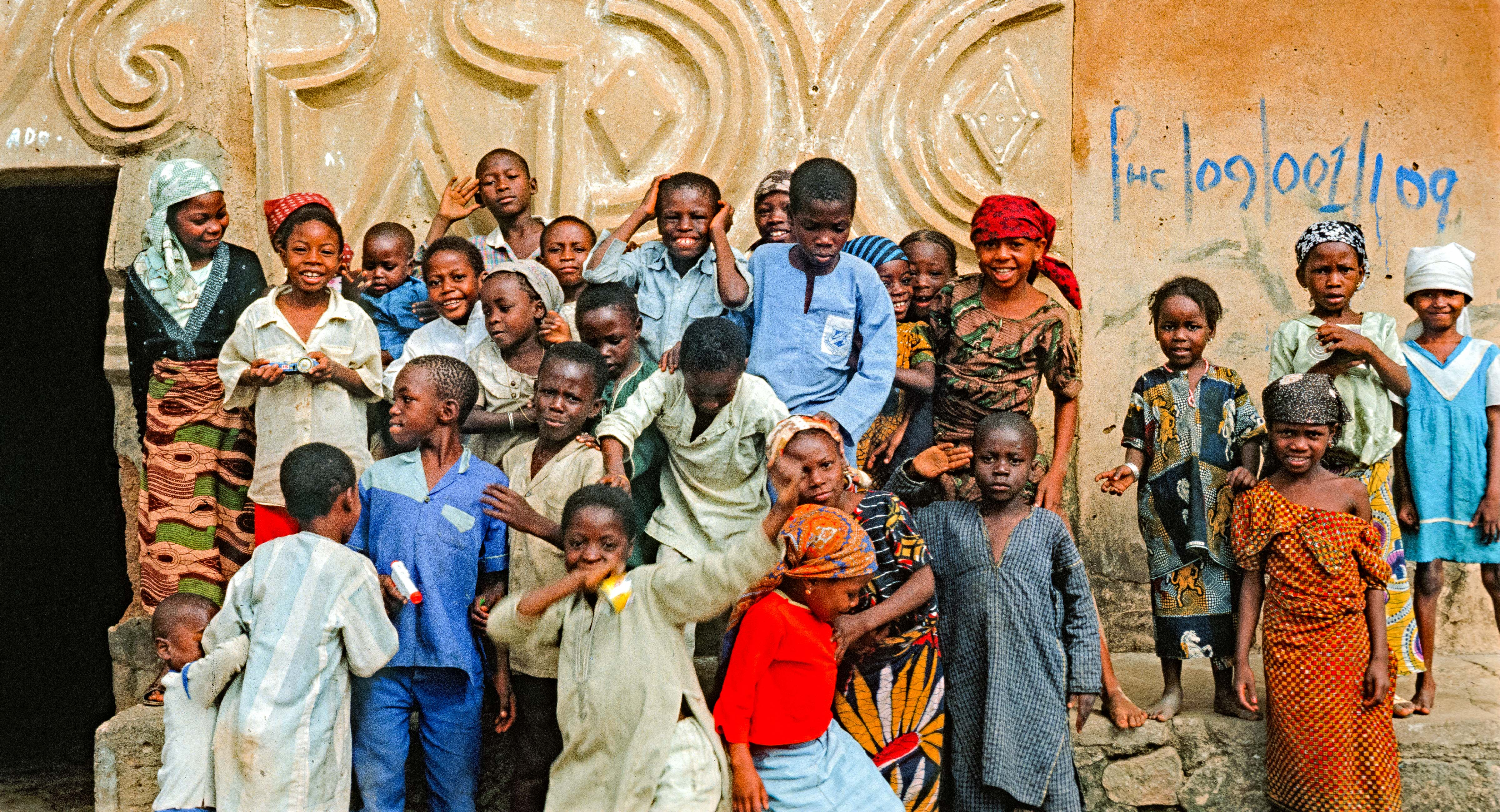Nigeria, Children against Contoured Wall, 1990