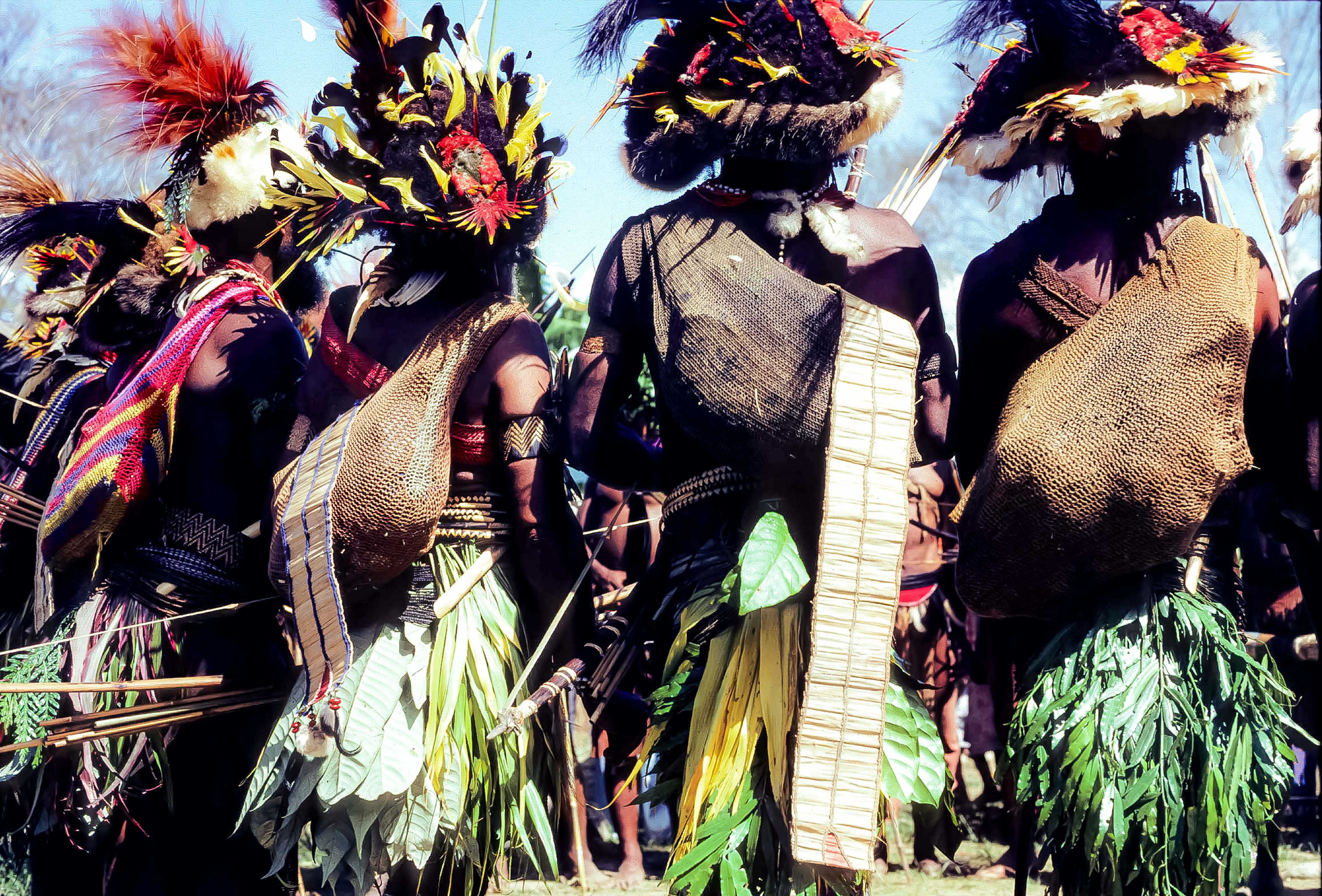 Papua New Guinea, Huli Dancers Back, 1983