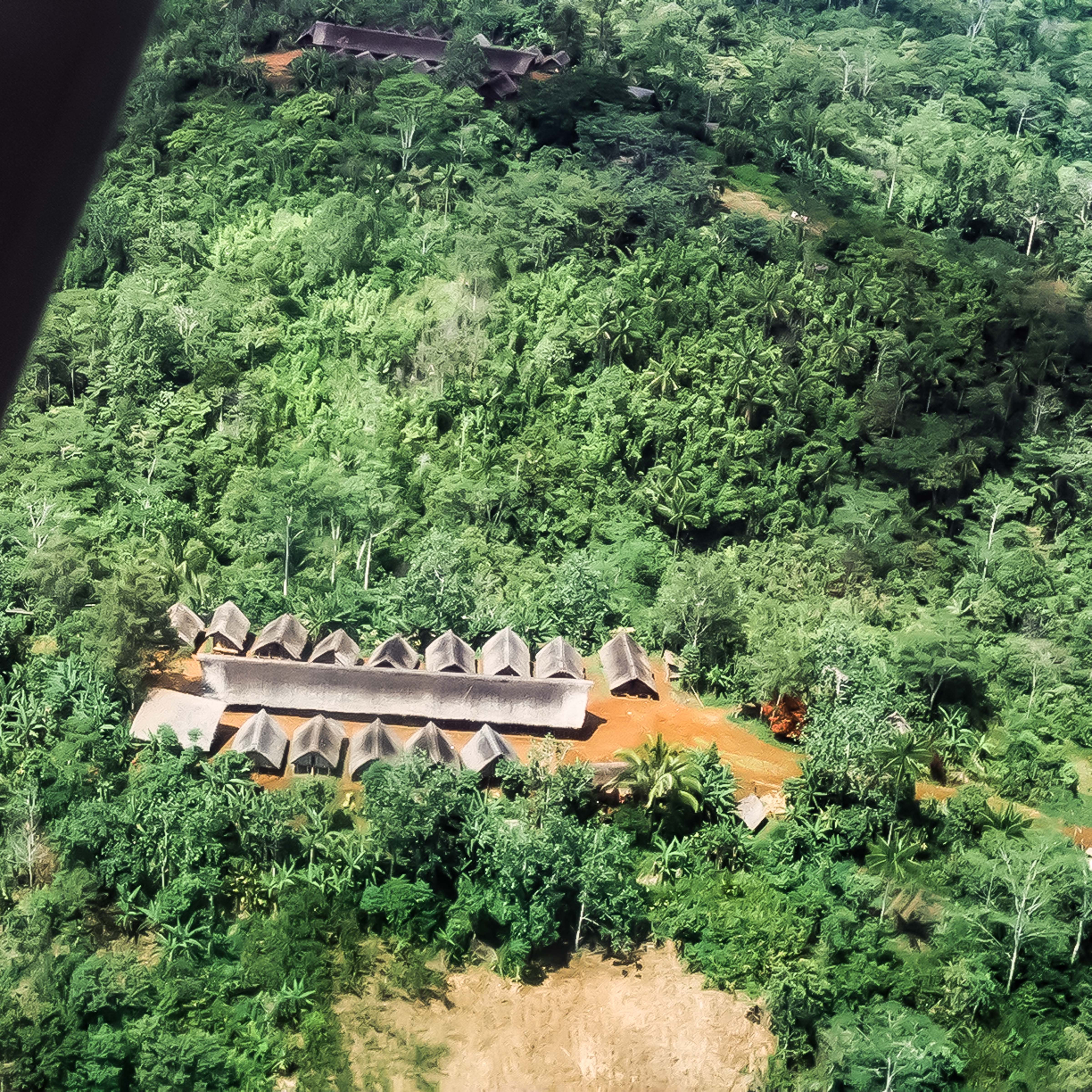 Papua New Guinea, Village Long Houses From Air, 1983