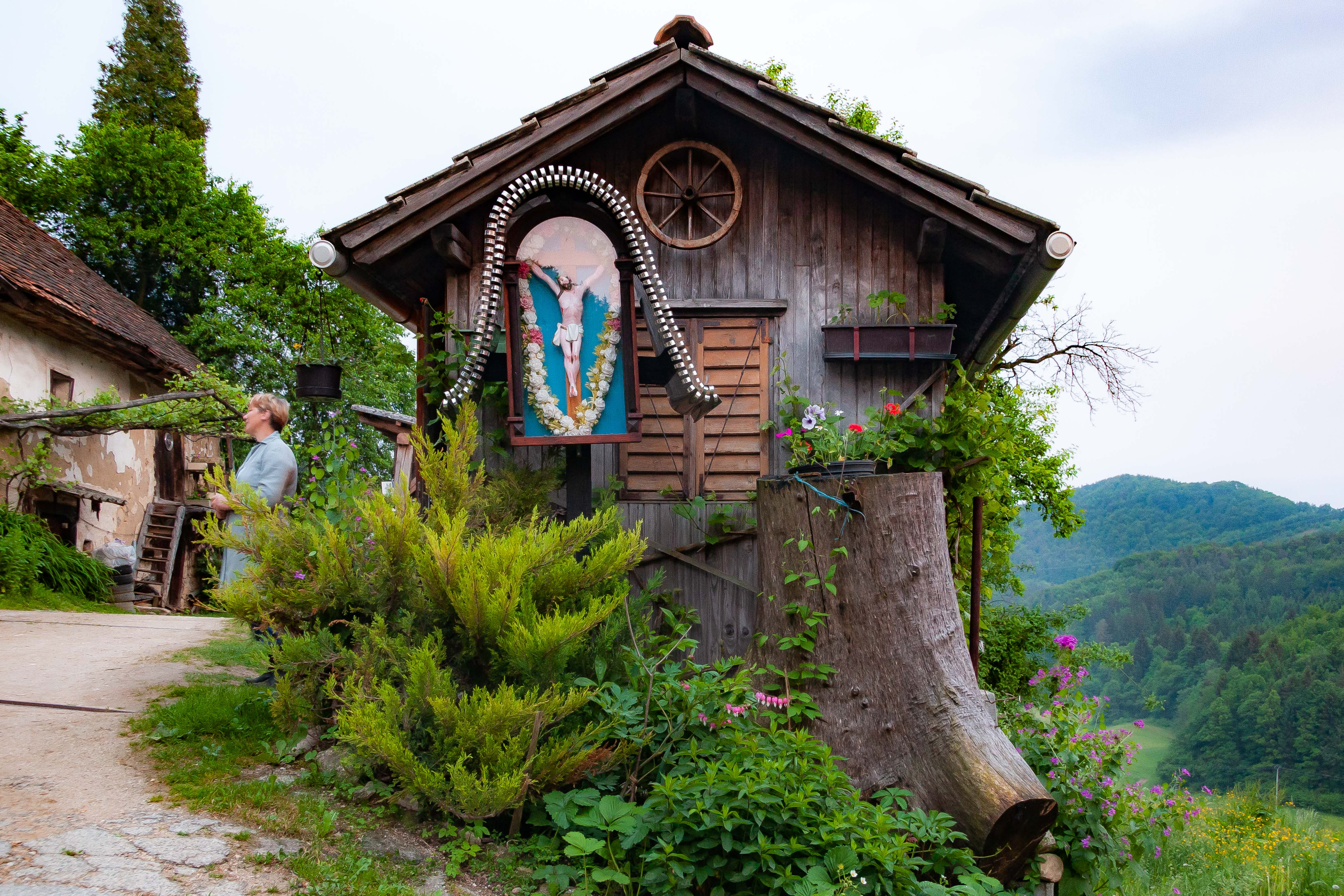 Slovenia, Dobrna Prov, Unusual House With Icon At Day, 2006, IMG 8077