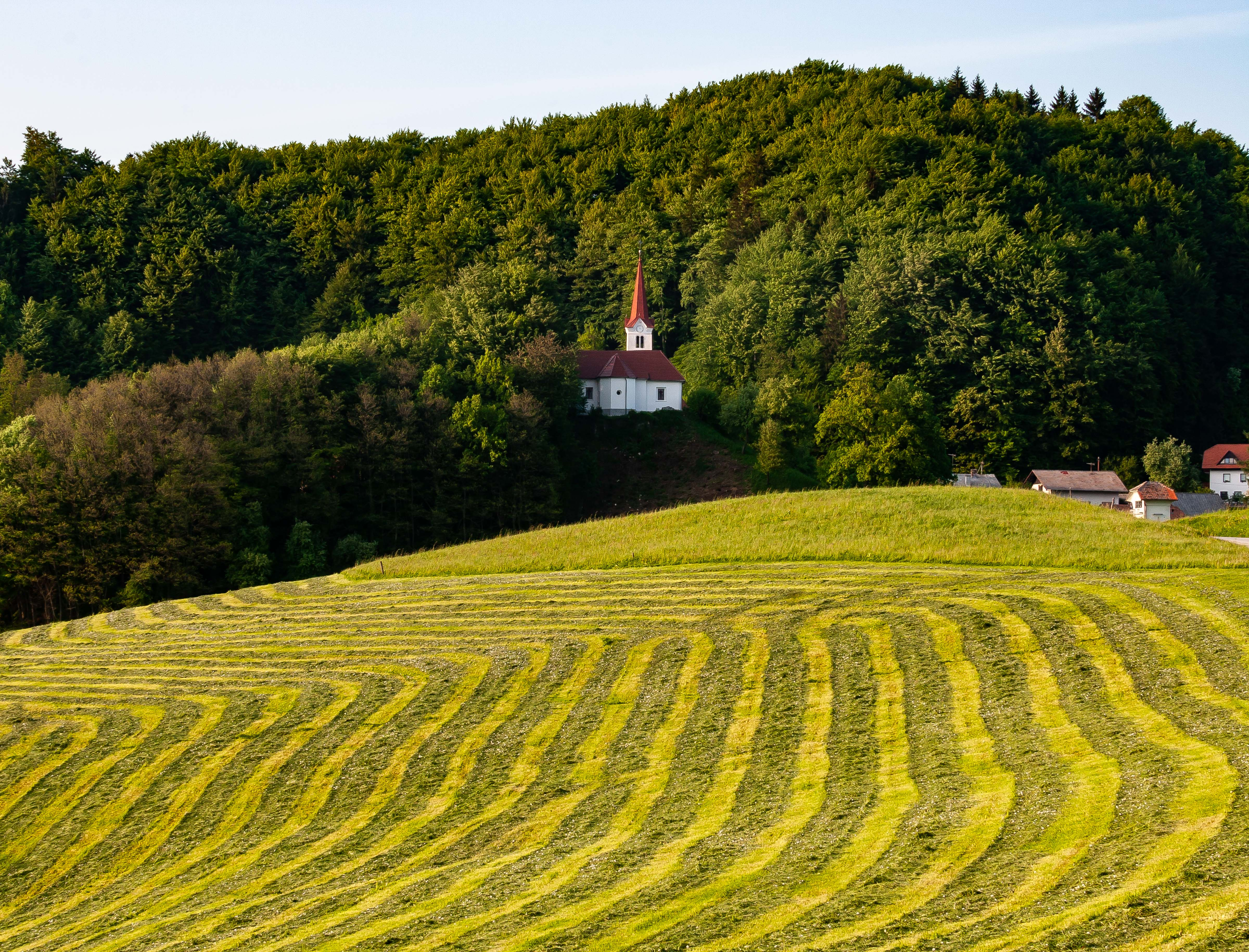 Slovenia, Zagorje Ob Savi Prov, Church And Striped Field, 2006, IMG 6161