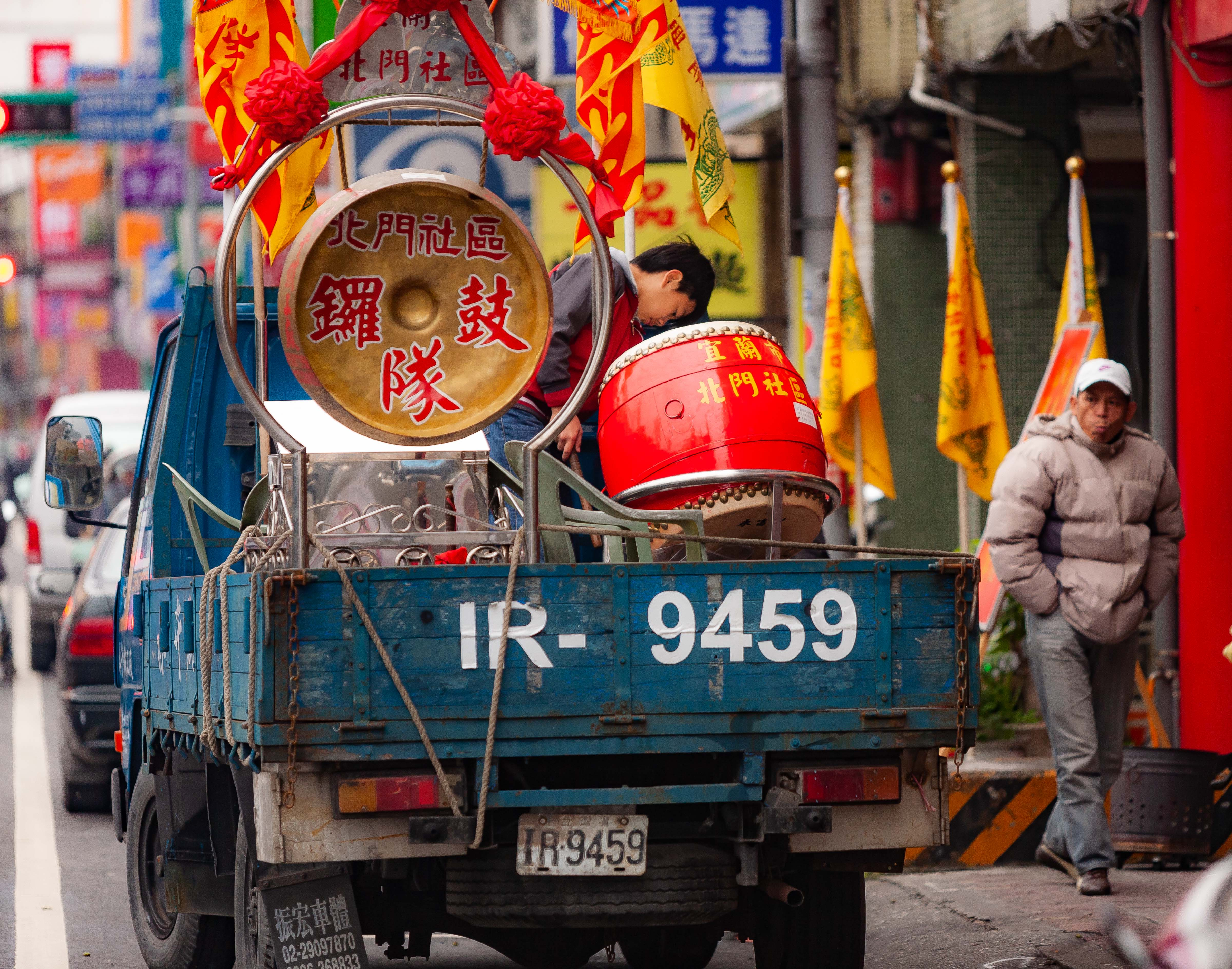 Taiwan, Ilan County Prov, Truck of Drums, 2009, IMG 3623