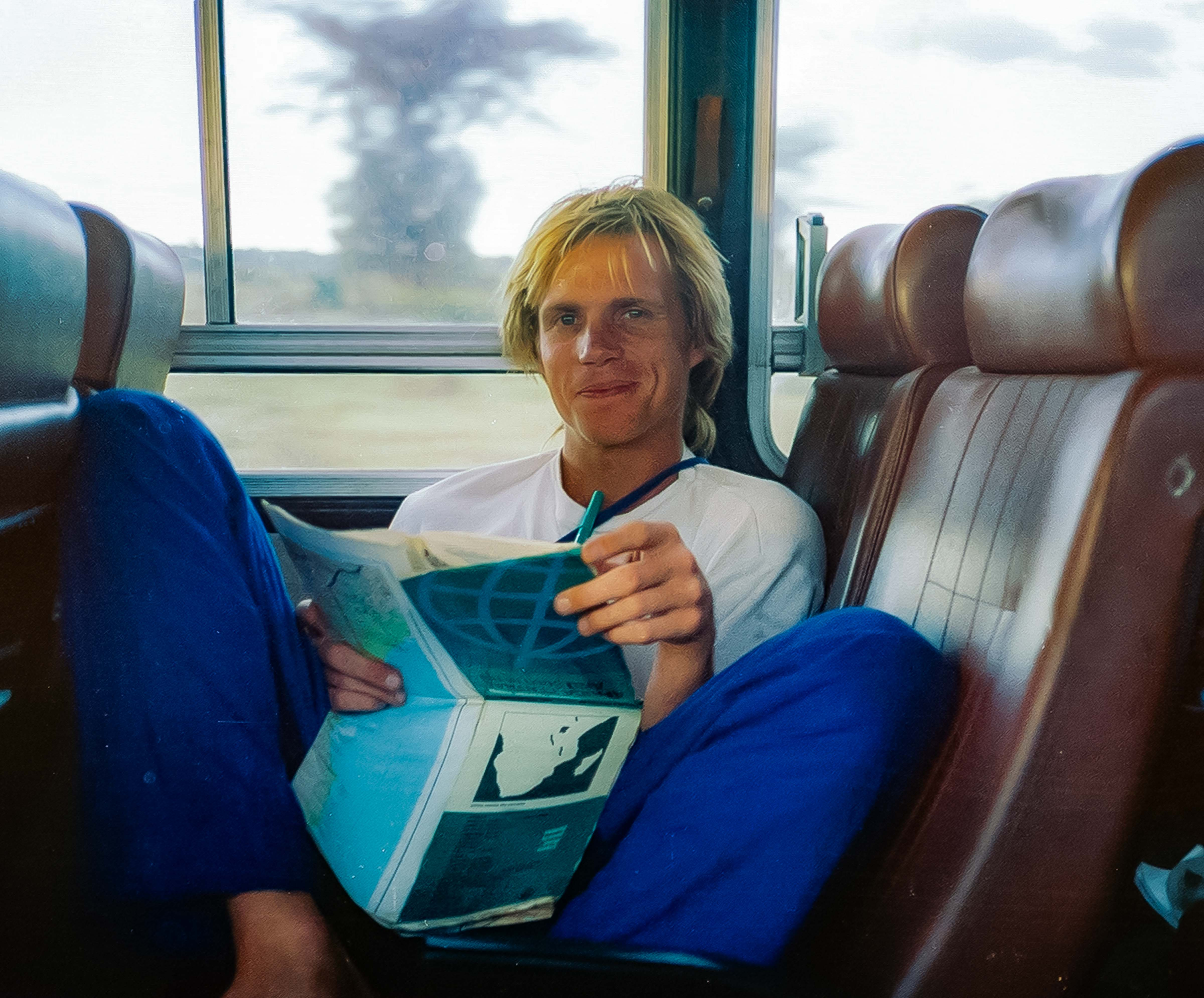 Tanzania, Jeff Shea On Bus, 1984