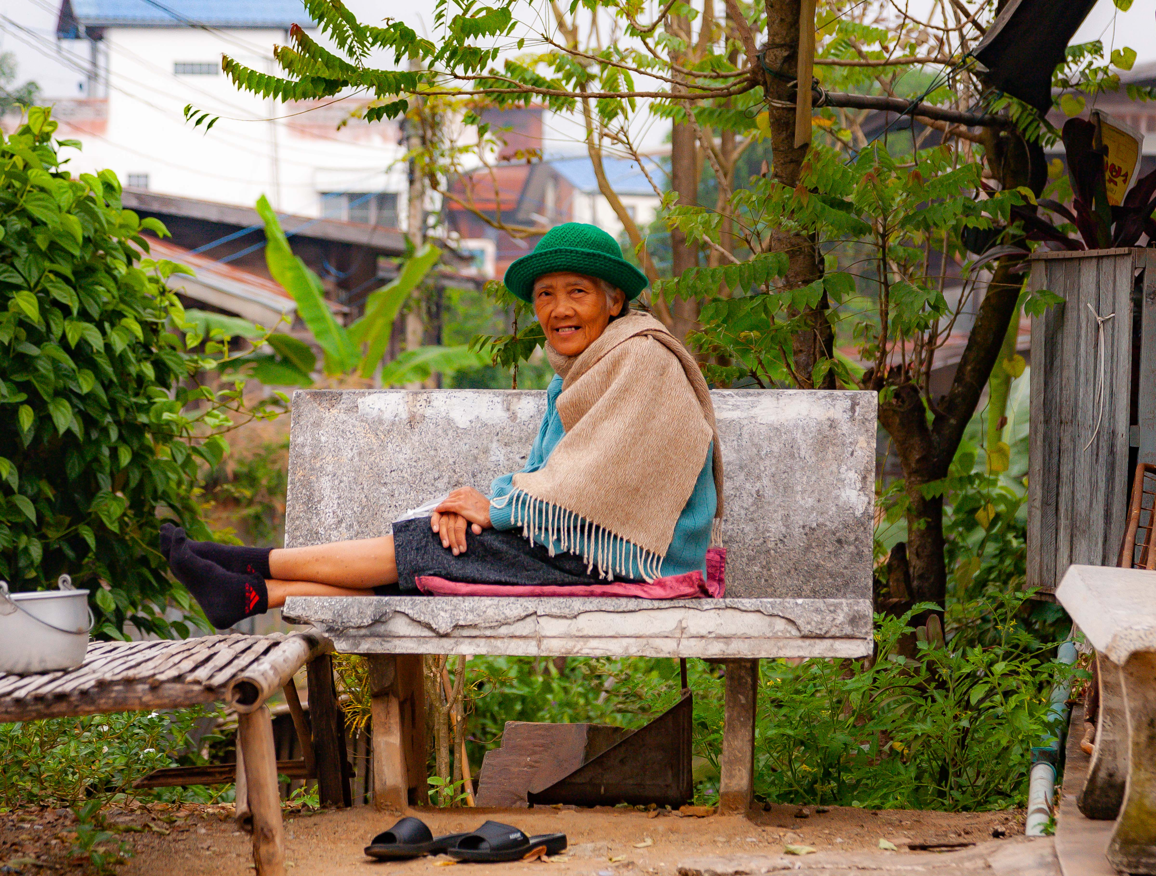 Thailand, Loei Prov, Woman With Green Hat, 2008, IMG 6445