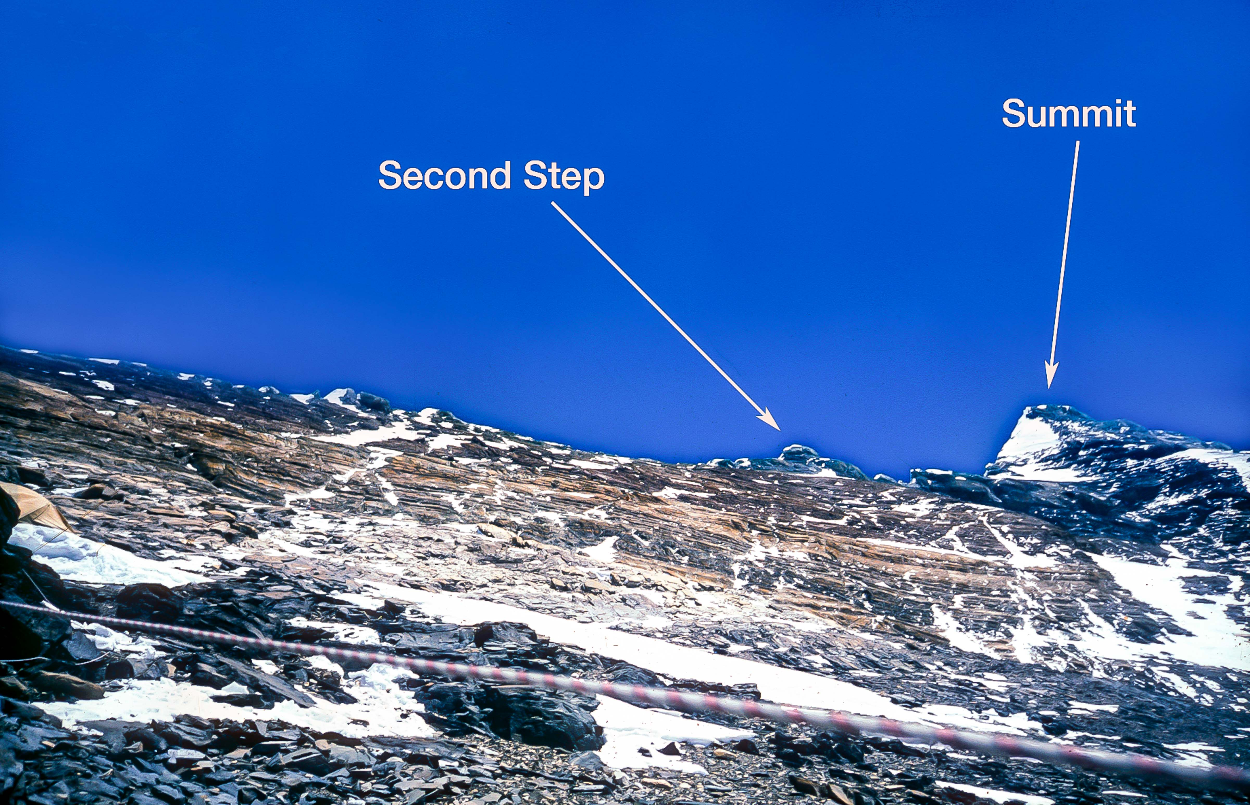 Tibet, Everest, North Ridge Route, Camp 3, Showing Second Step, Summit Pyramid, 8200m, 1995