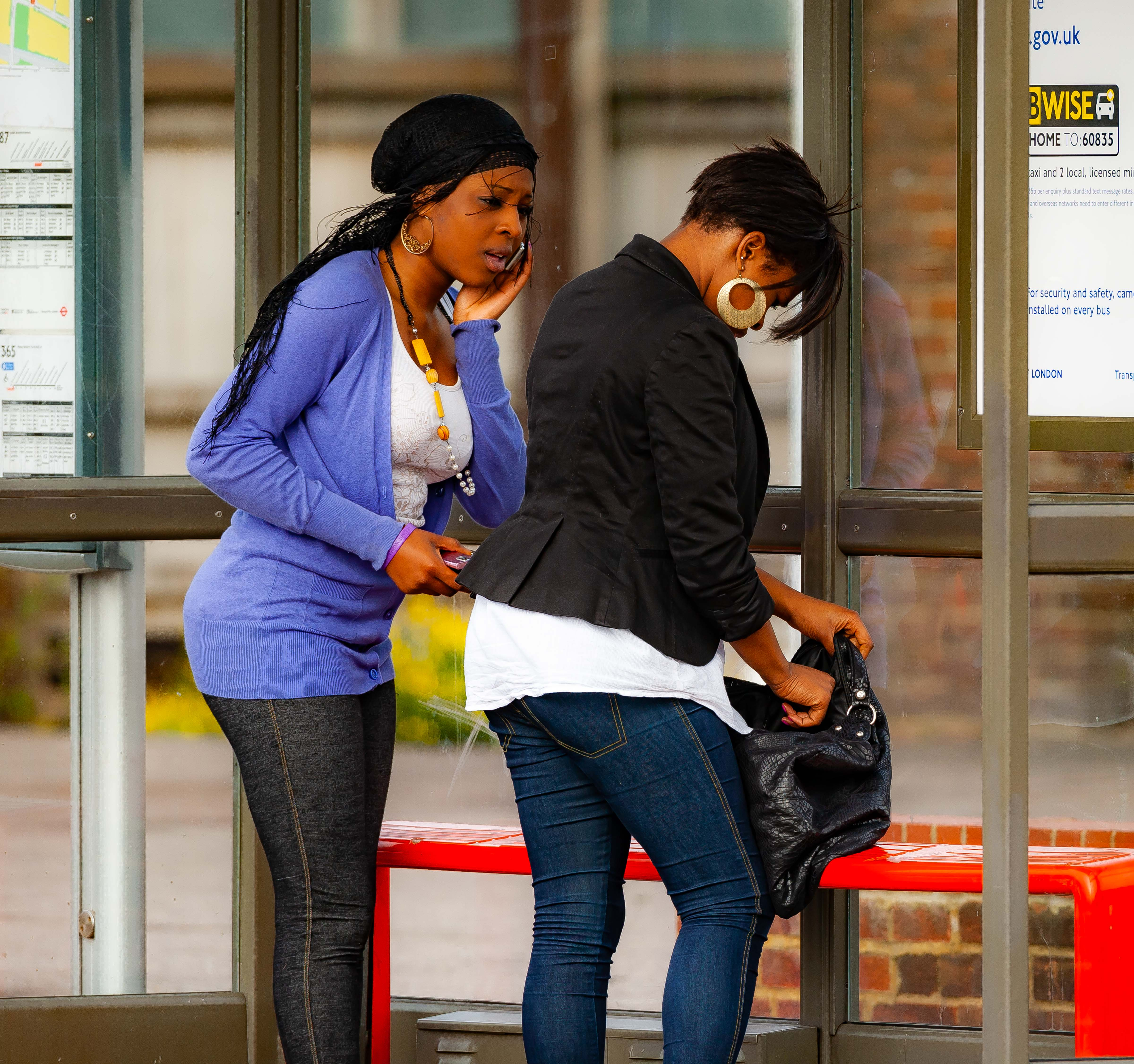 UK, Barking And Dagerham (London) Prov, Two Young Women At Bus Stop, 2009, IMG 3383