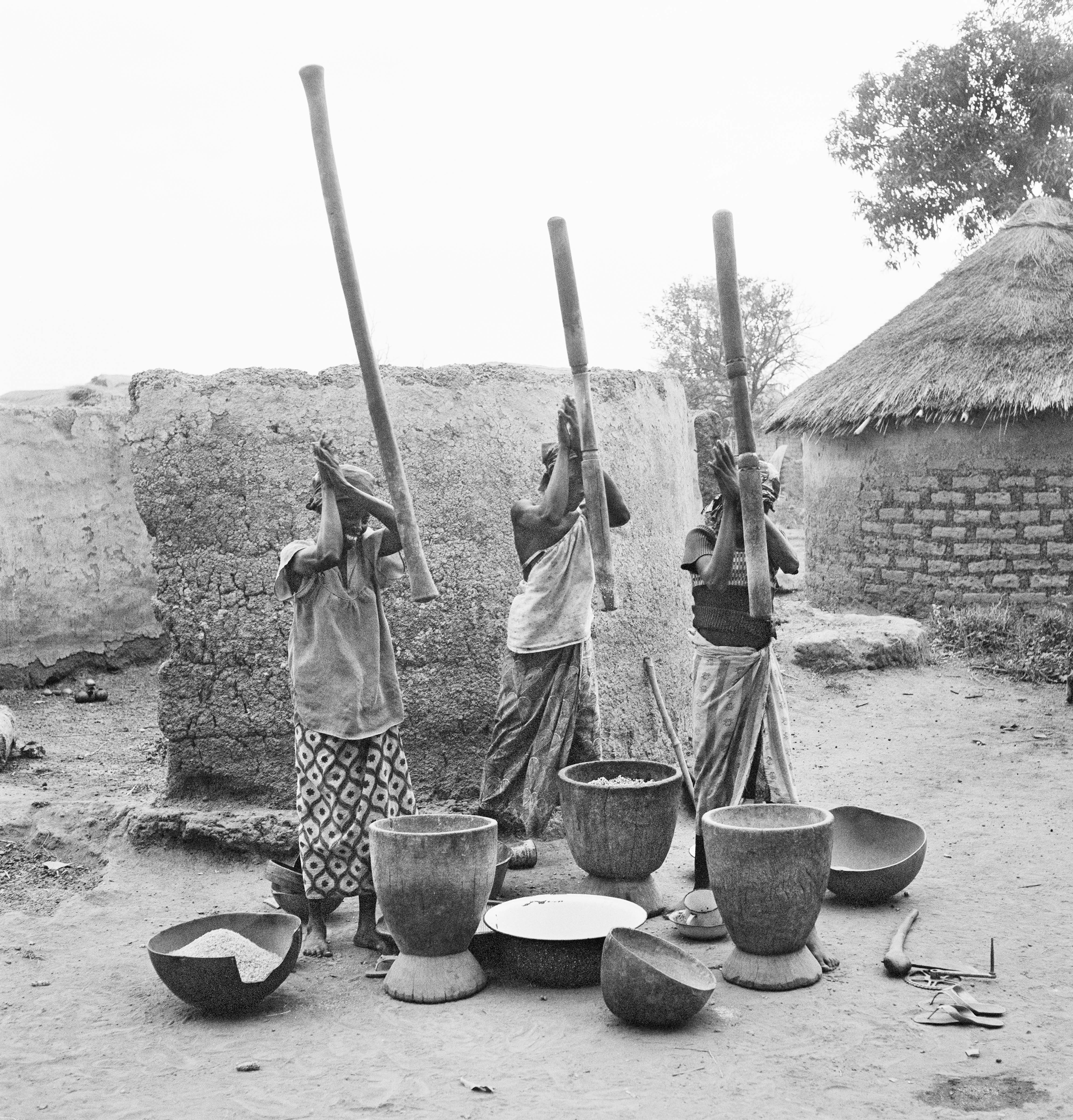 Three Women Pounding Millet