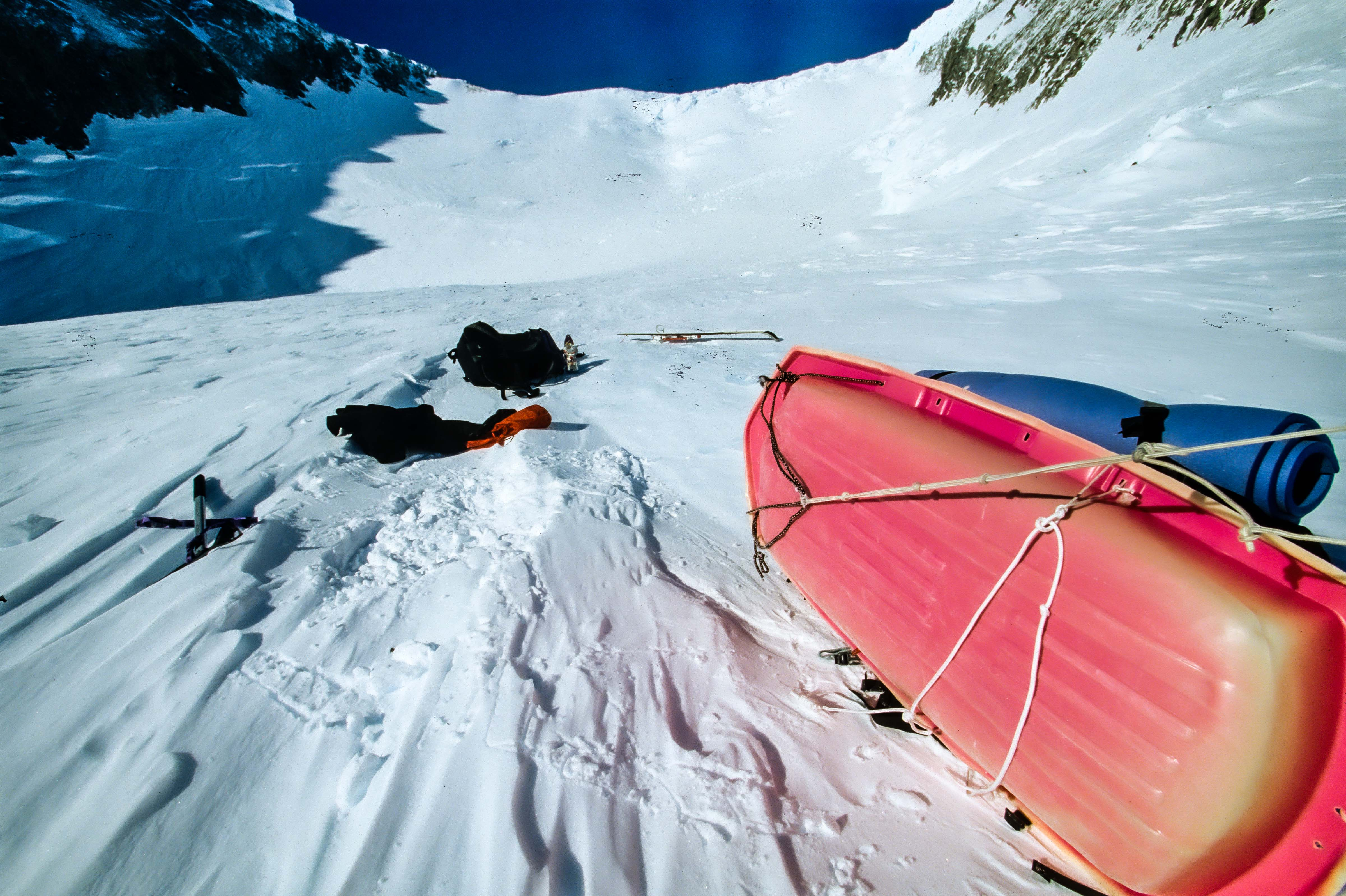 Antarctica, Sled Tipped Over With Ice Slope Ahead, 1997