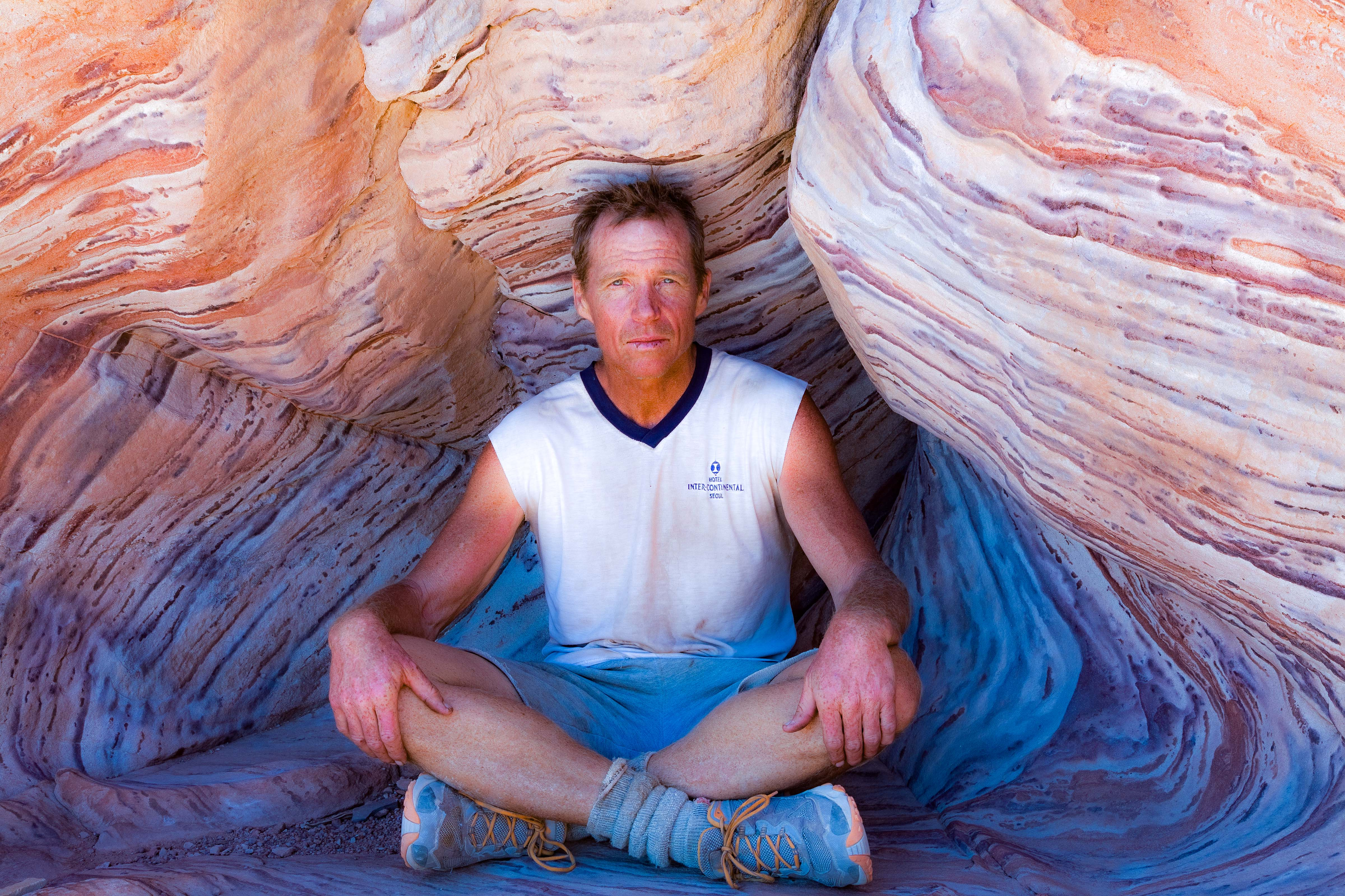Argentina, Jujuy Prov, Jeff In Colored Rock, 2010, IMG 6347
