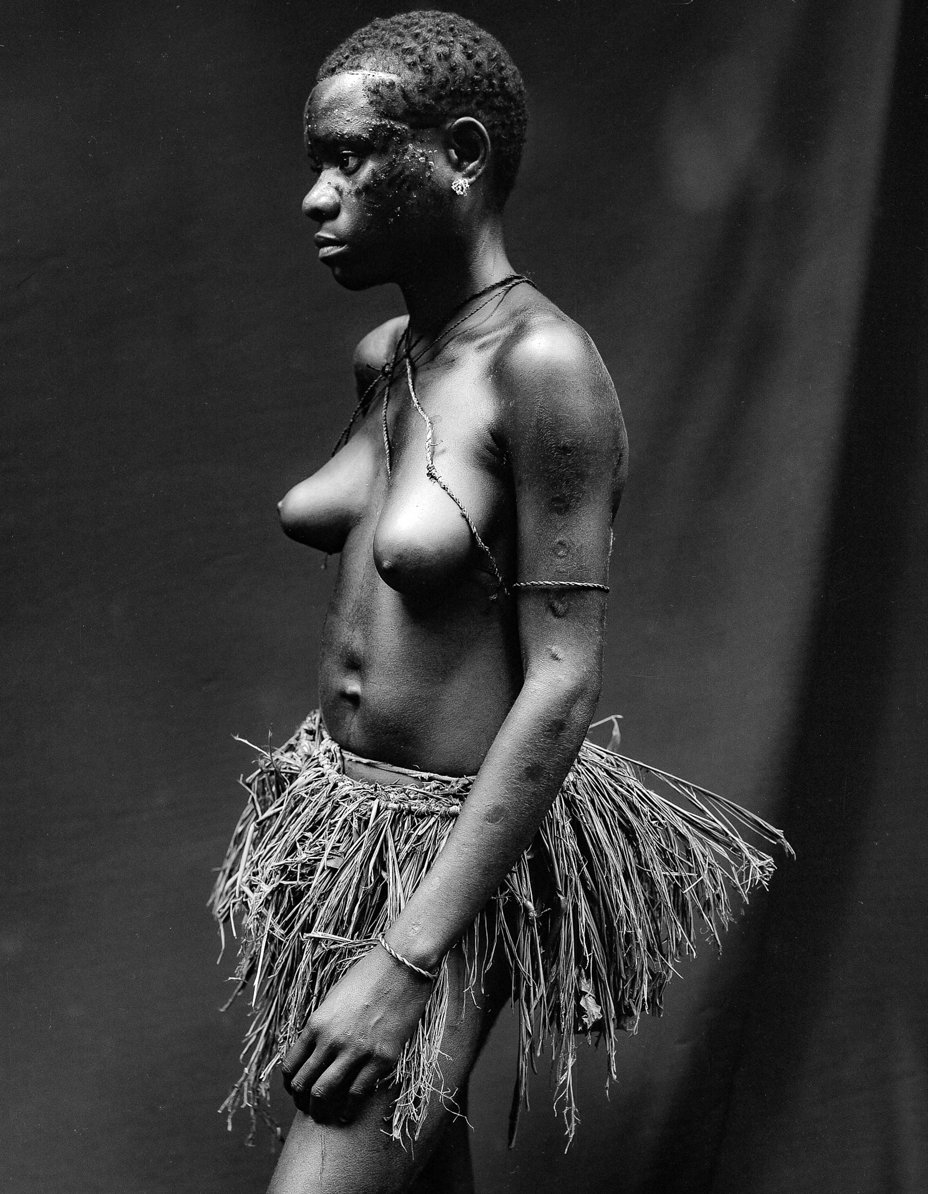 Central African Republic, Pygmy Girl In Grass Skirt, 2000