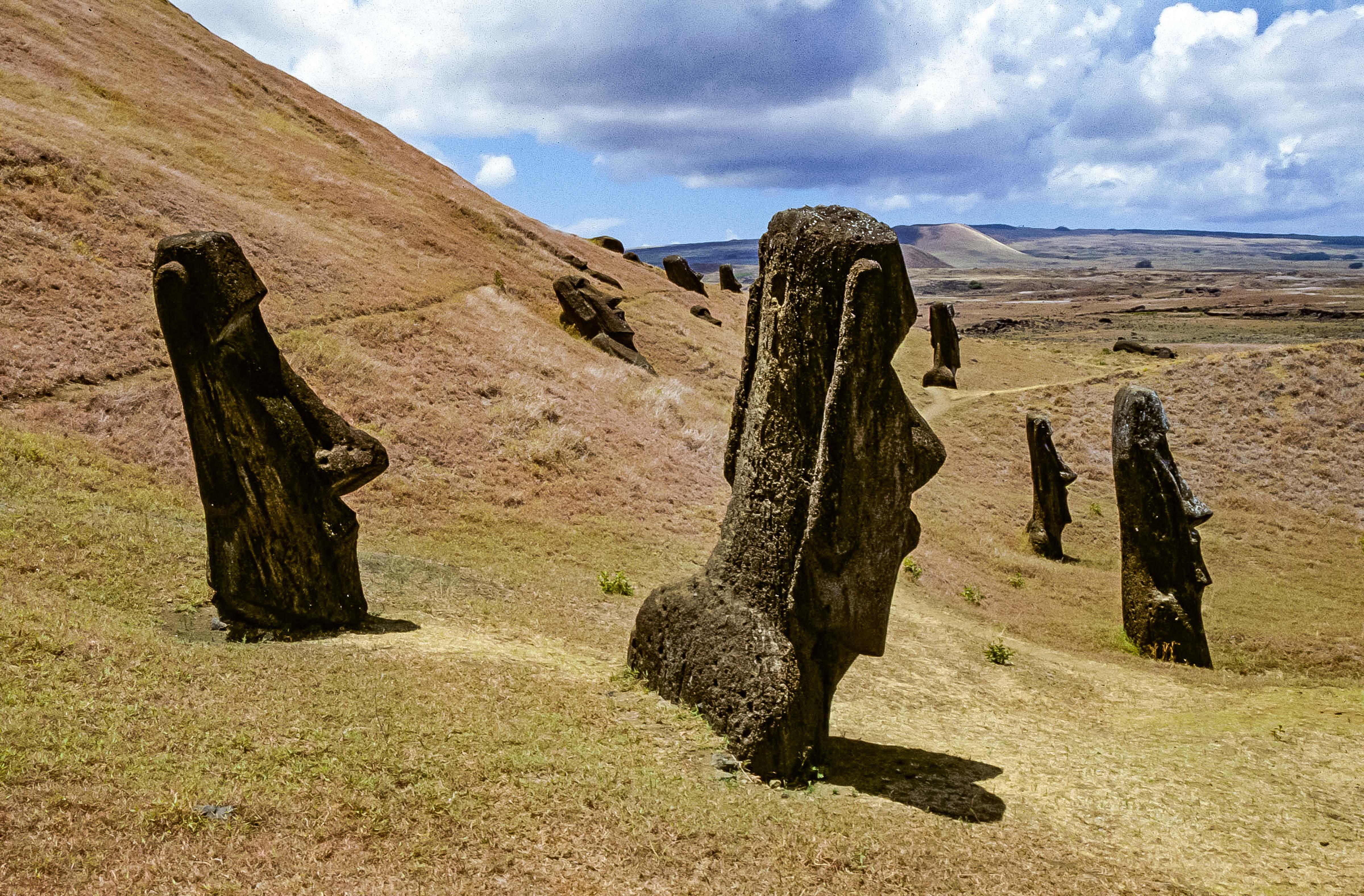 Easter Island, Buried Moai at Rano Raraku, 1997