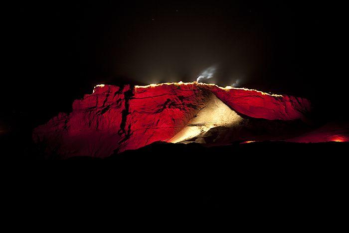 Israel, Southern Prov, Masada At Night Red Walls, 2012, IMG 6419