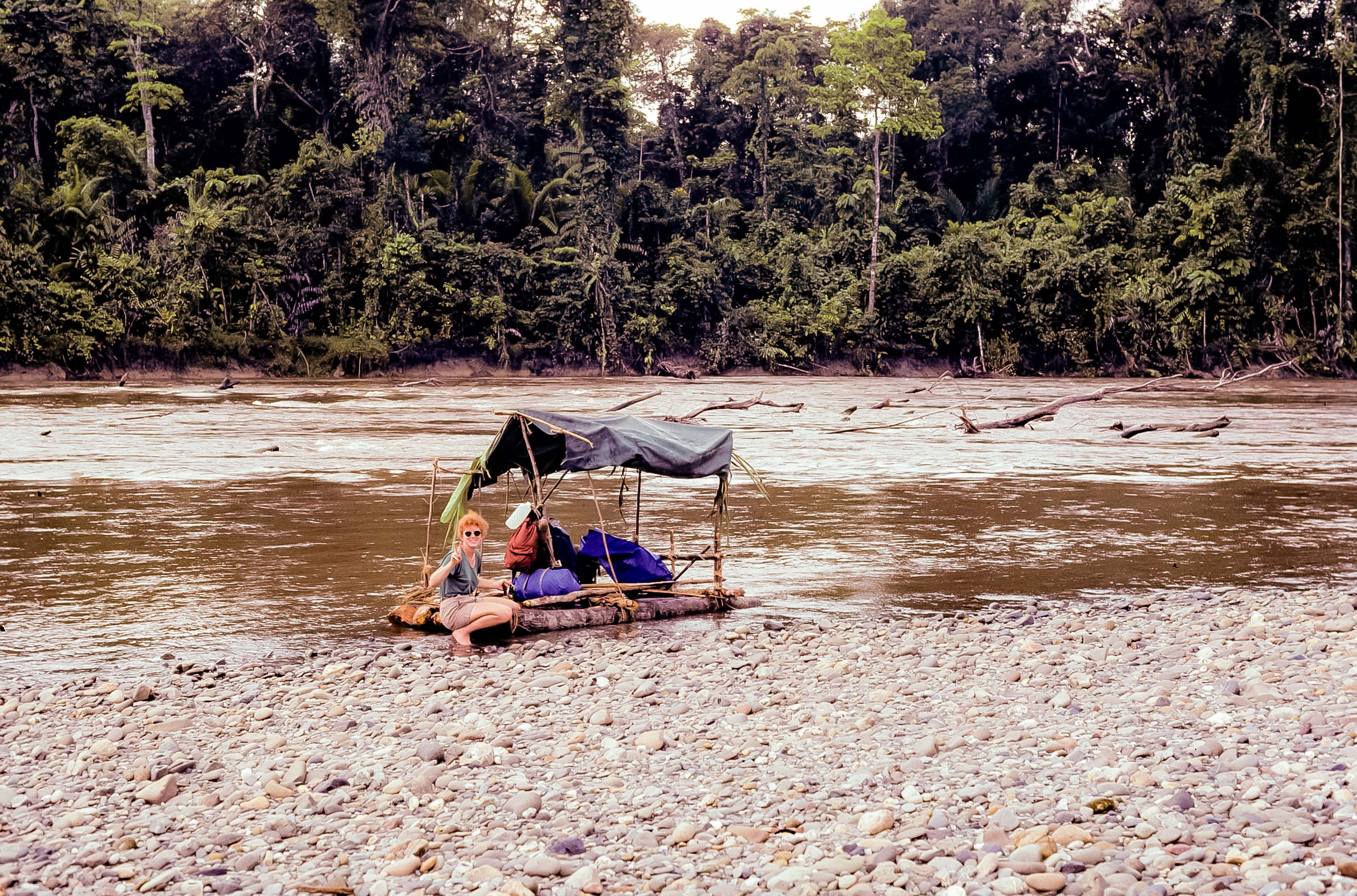 Papua New Guinea, Kelly With Raft On Frieda River, 1983