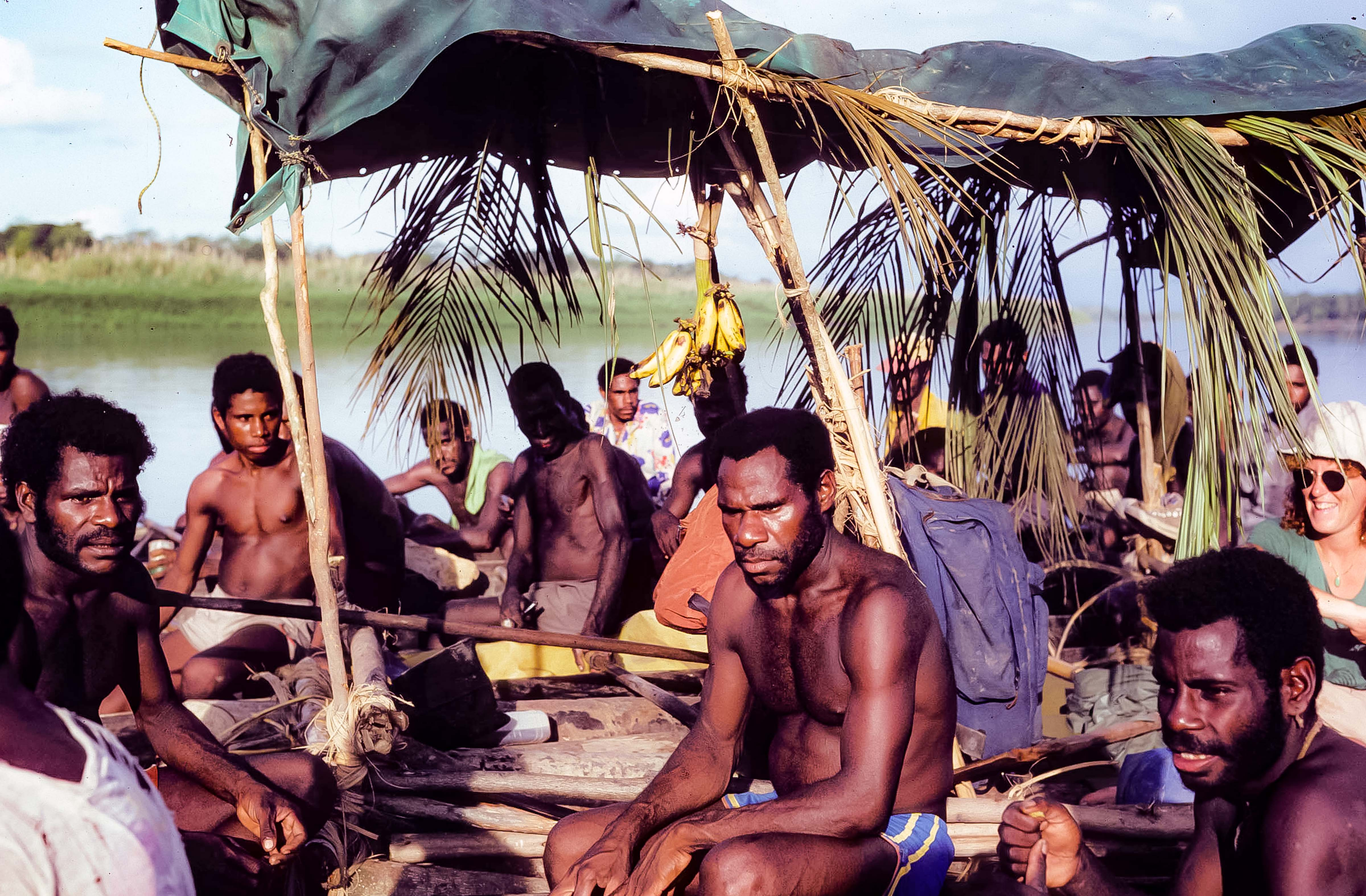 PNG, Kubkain Villagers Arrive In Their Canoes,1983