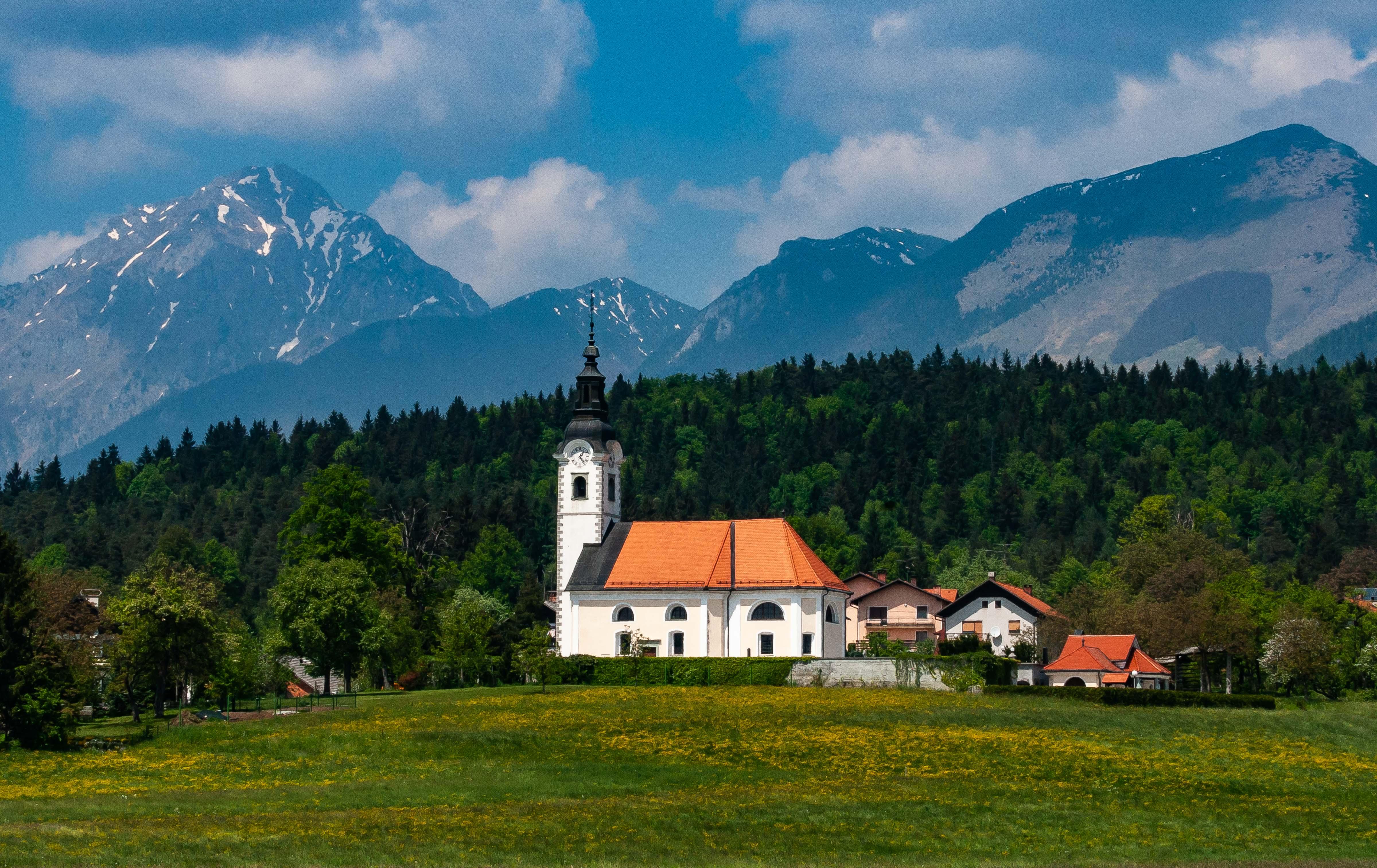 Slovenia, Cerklje Na Gorenjskem Prov, Village Church And Landscape, 2006, IMG 6021