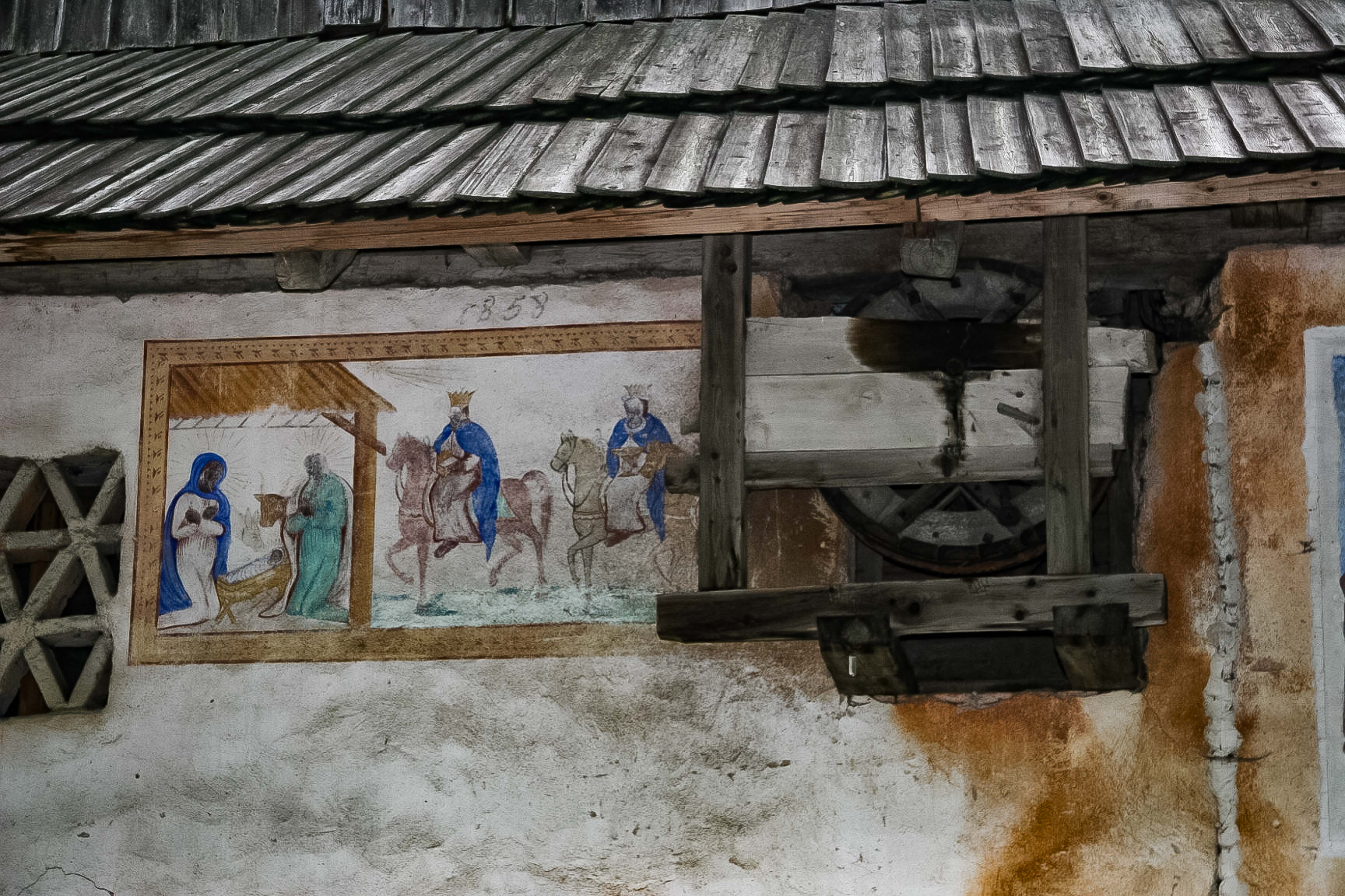 Slovenia, Solcava Prov, Painted Wall On House Built In 1858, 2006, IMG 8382