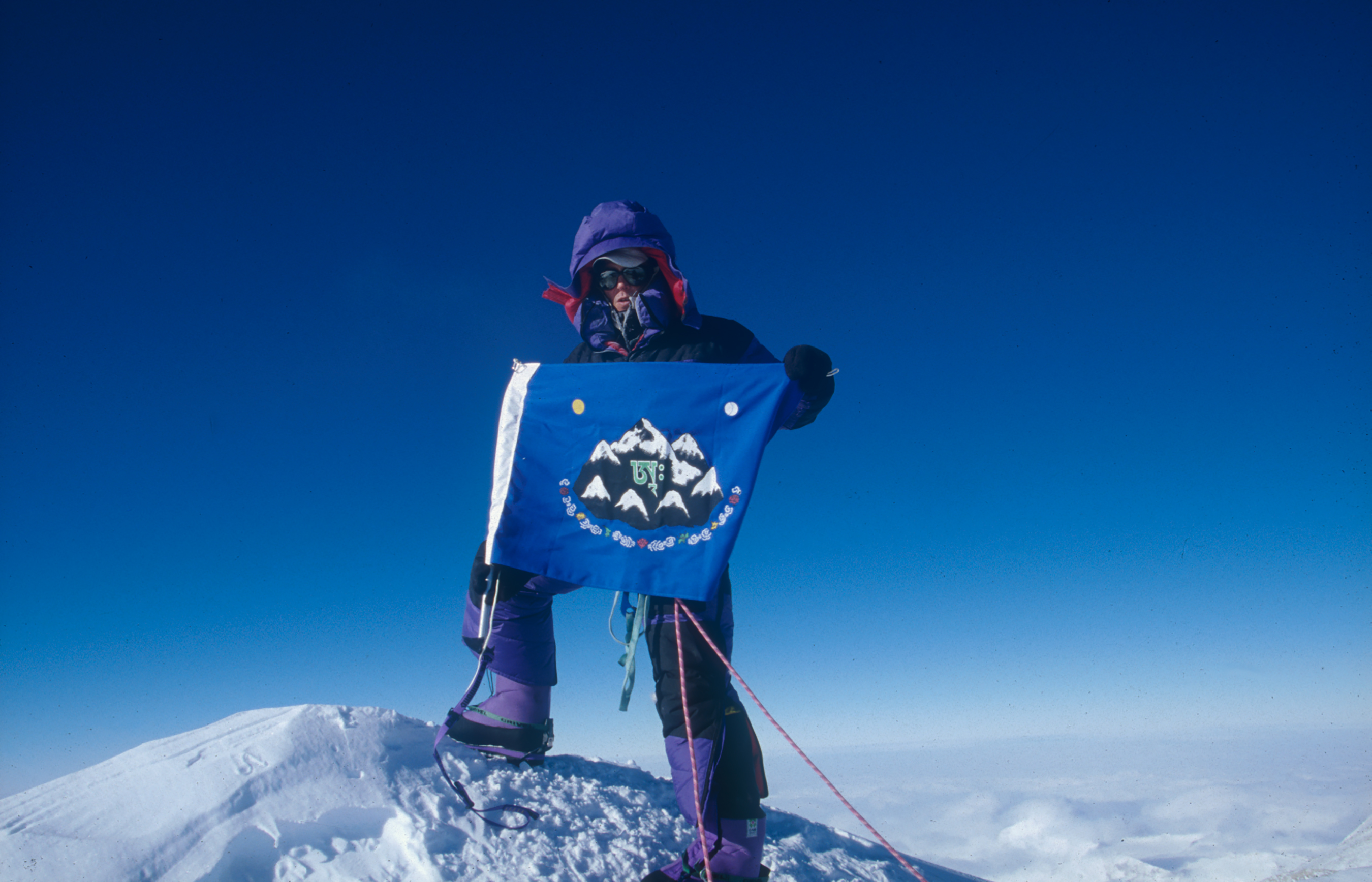 Antarctica, Jeff Shea Completes the Seven Summits Atop Mount Vinson, 1997 (with flag)